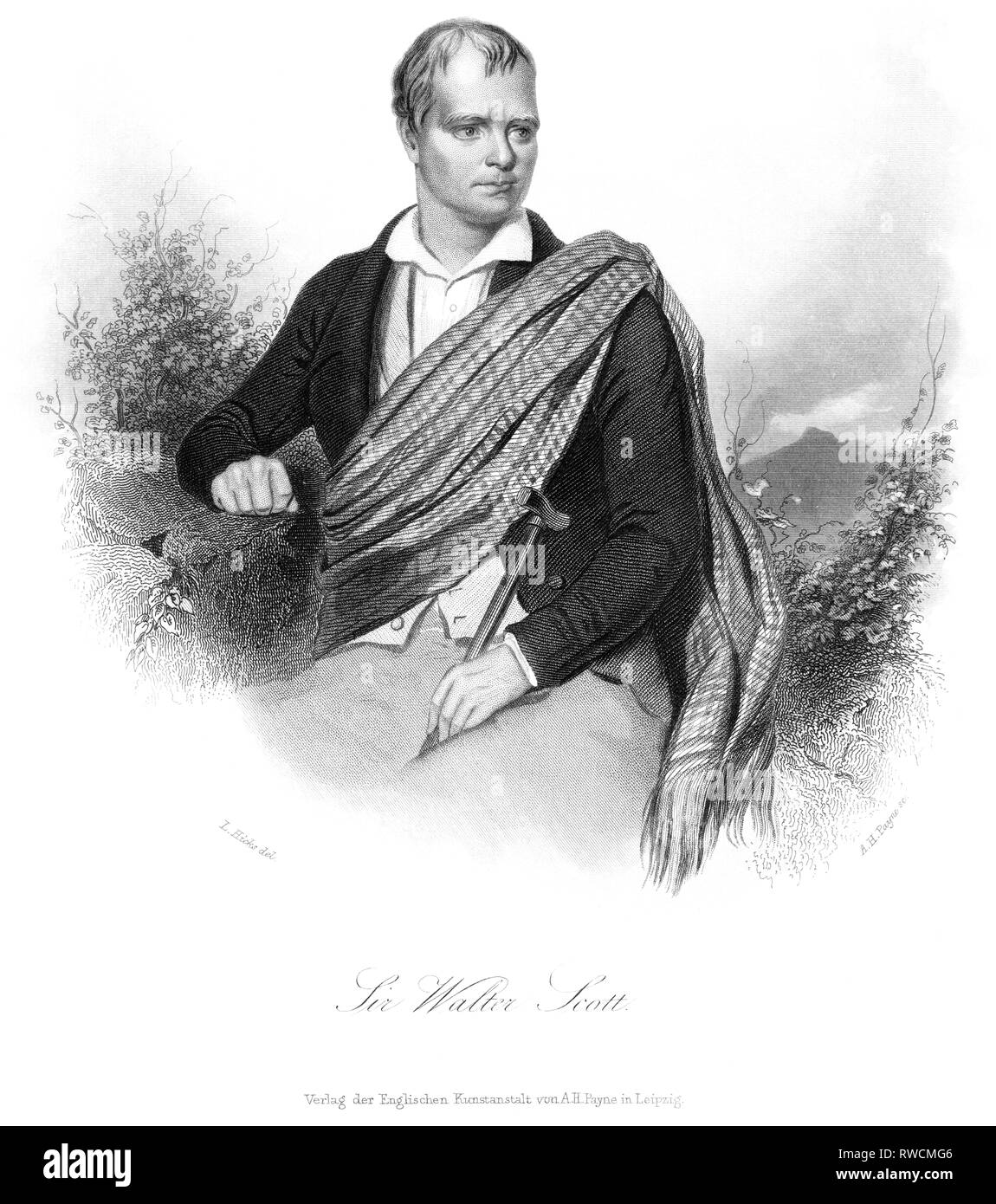 Great Britain, Scotland, Edinburgh, Sir Walter Scott, Scottish writer and poet, steel engraving by A. H. Payne after L. Hicks, around 1850., Artist's Copyright has not to be cleared - Stock Image