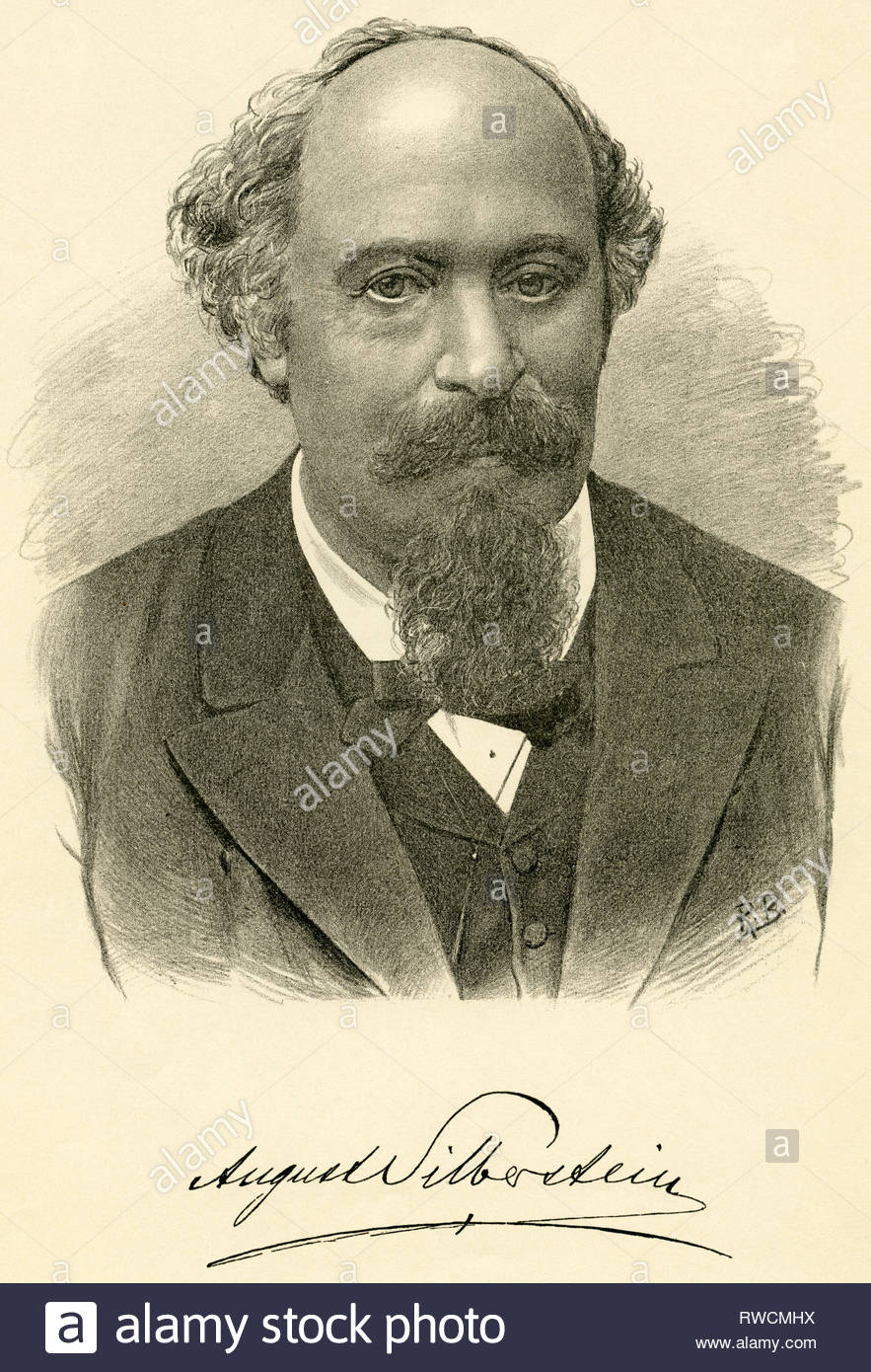 Hungary, Ofen (Budapest), August Silberstein, Austrian writer (died 1900), lithography / around 1894 / by Josef Eberle (died 1921), Lithography by Stern and Steiner, Vienna., Artist's Copyright must also be cleared - Stock Image