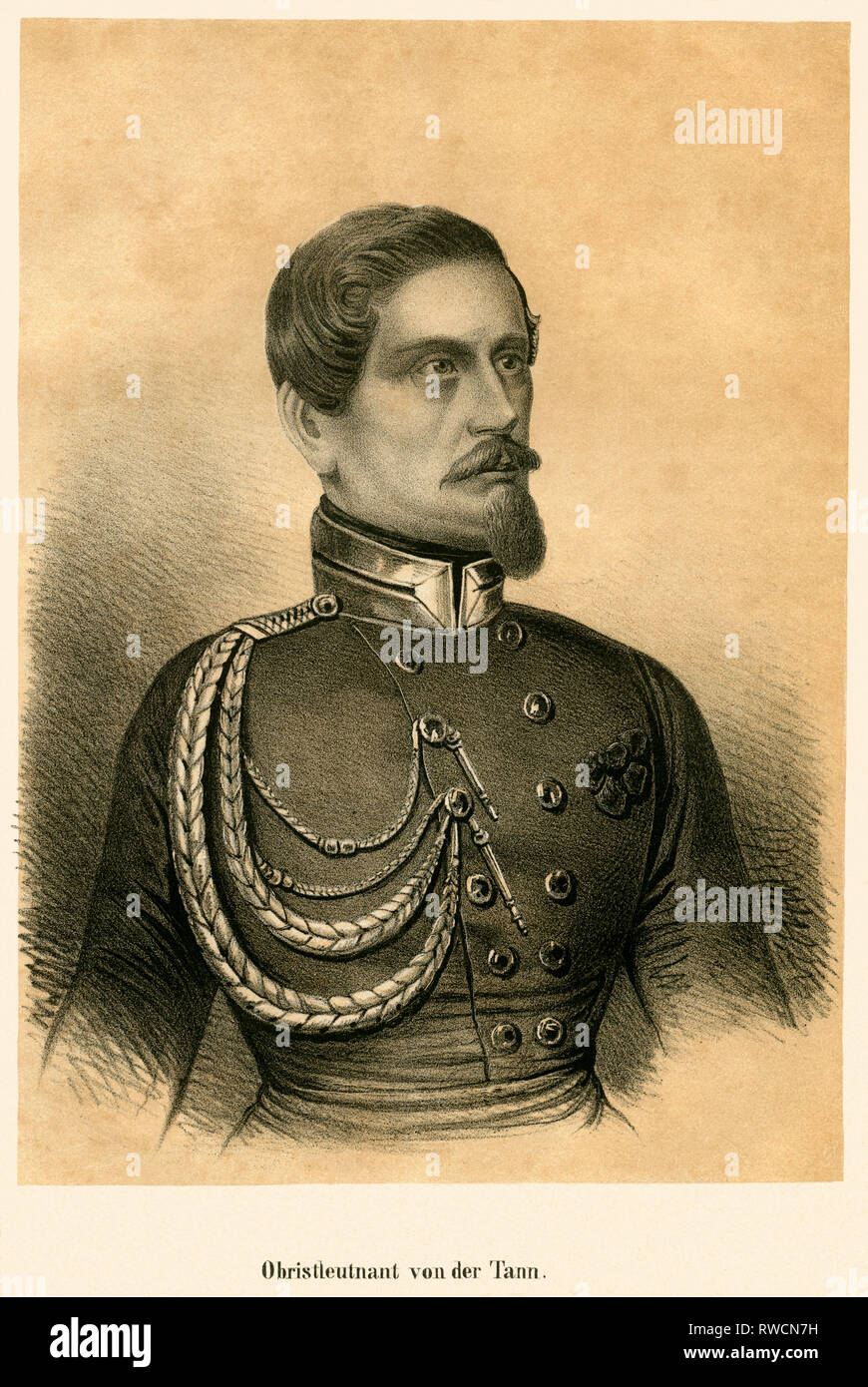 Germany, Hesse, Darmstadt, Ludwig von der Tann, lithography around 1850., Additional-Rights-Clearance-Info-Not-Available - Stock Image
