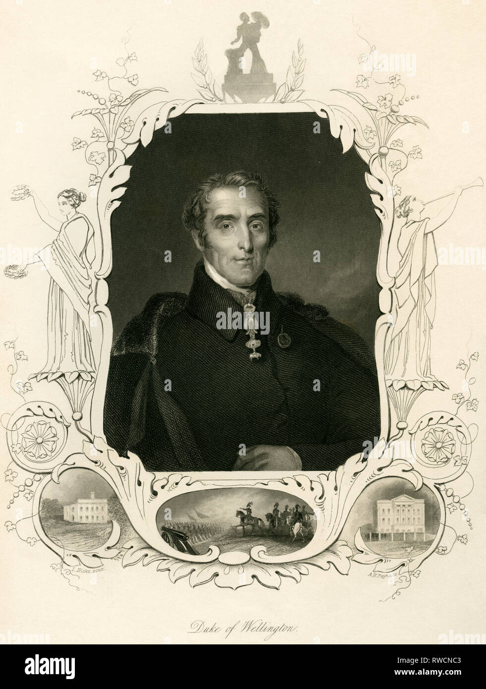 Ireland, Dublin. Great Britain, Duke of Wellington (Arthur Wellesley?), steel engraving by A. H. Payne after L. Hicks, around 1840., Artist's Copyright has not to be cleared - Stock Image