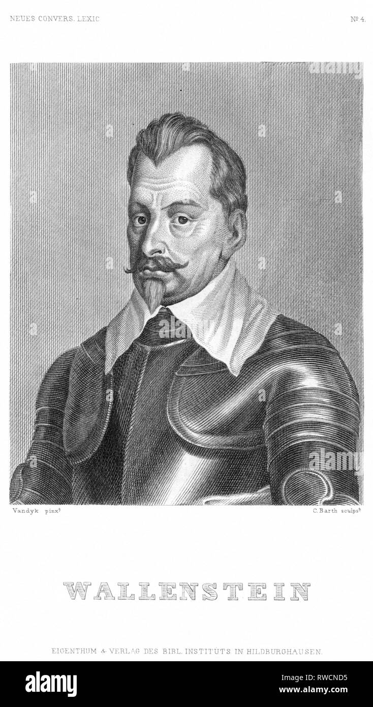 Czech Republic, Hermanice, Bohemia, Wallenstein, Albrecht von Waldstein, Bohemian Military Leader, steel engraving, published by Bibl. Institut in Hildburghausen, around 1850th years., Artist's Copyright has not to be cleared - Stock Image