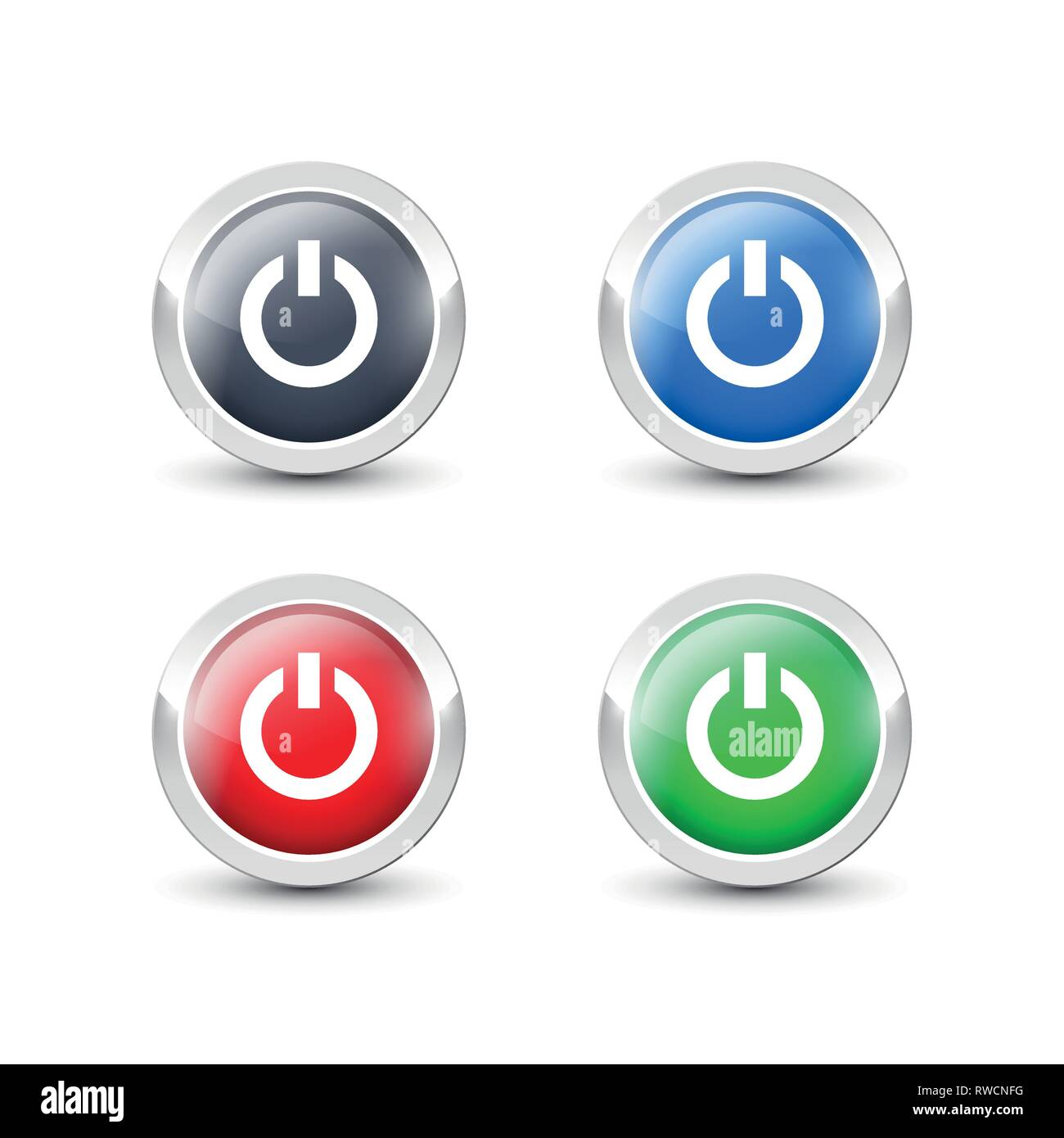 Round power buttons with metallic silver border  Vector start button
