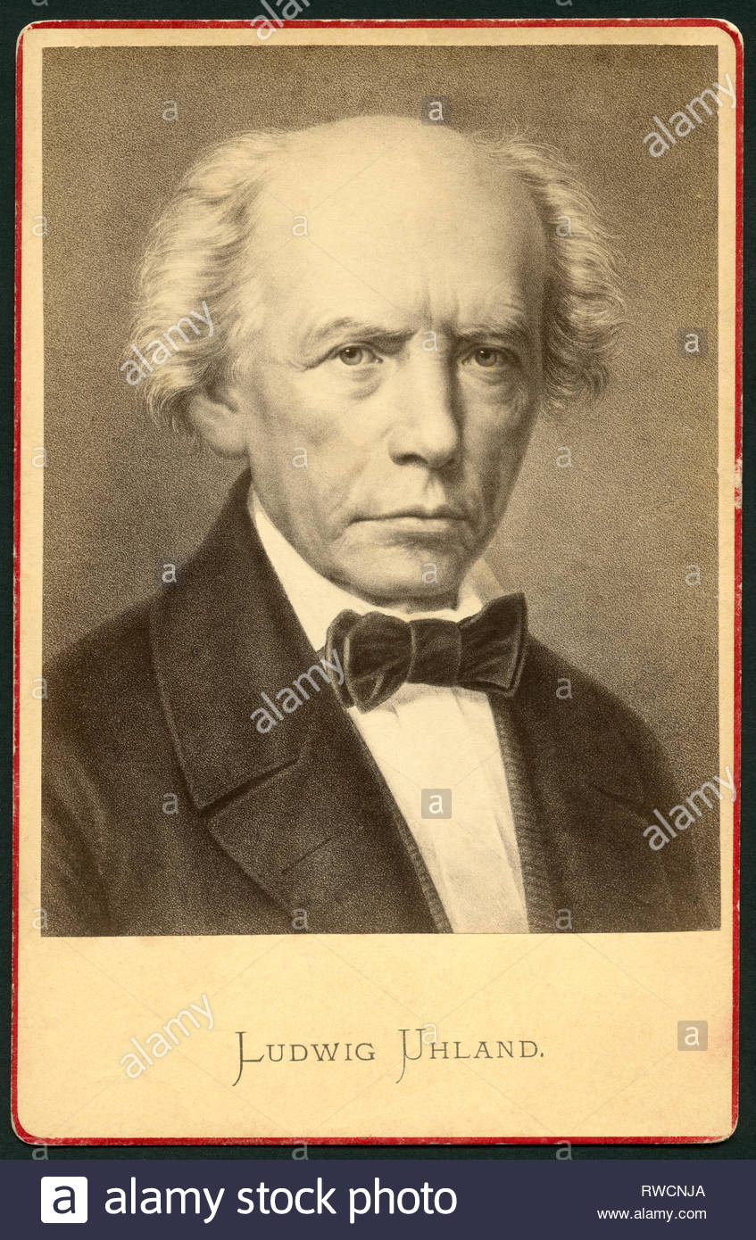 Ludwig Uhland, German poet, motive published by E. H. Schroeder, Hermann Kaiser, Berlin, 1870s, Artist's Copyright must also be cleared - Stock Image