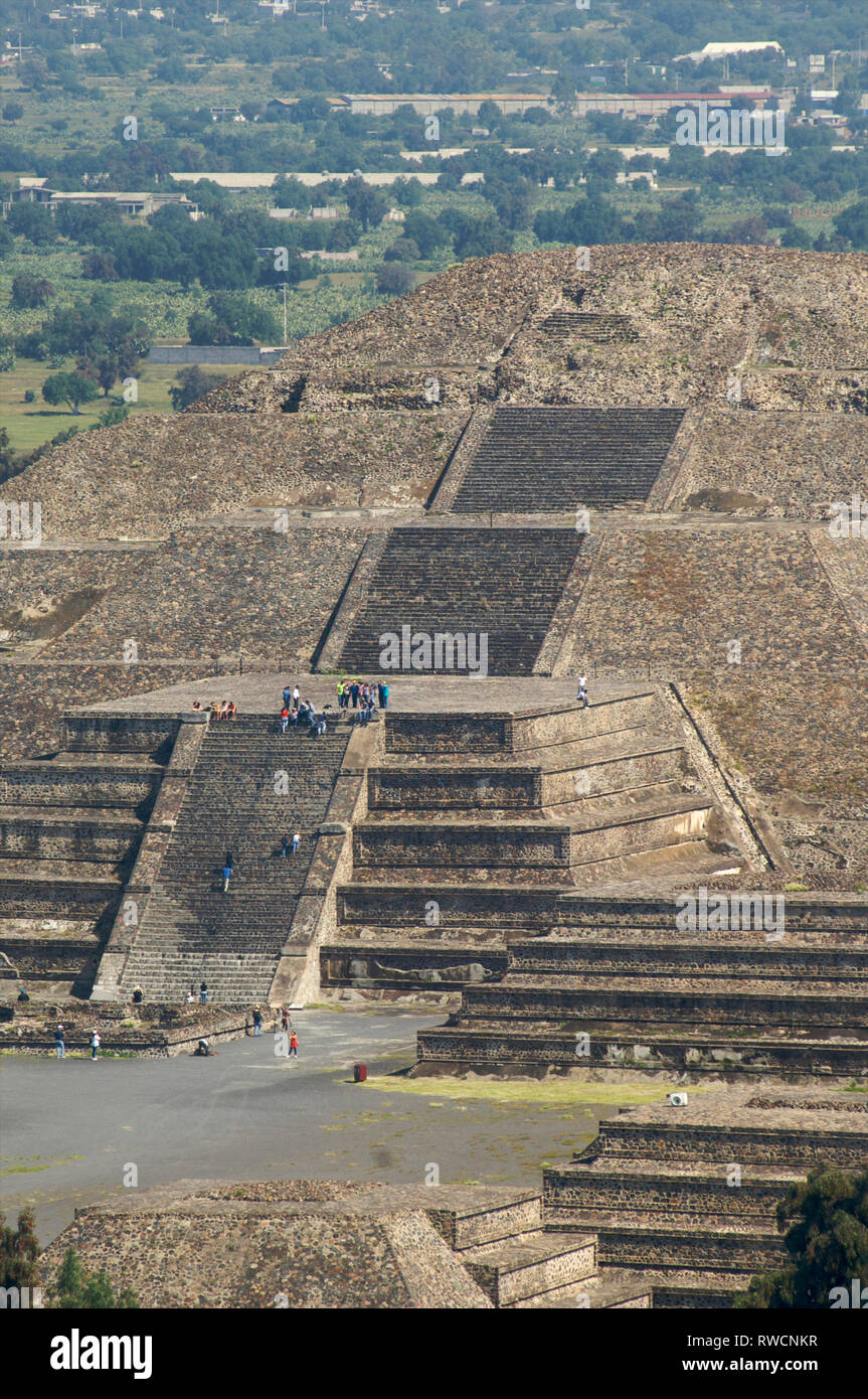 Detail of the Pyramid of the Moon as seen from the Pyramid of The Sun at Teotihuacan, Mexico - Stock Image