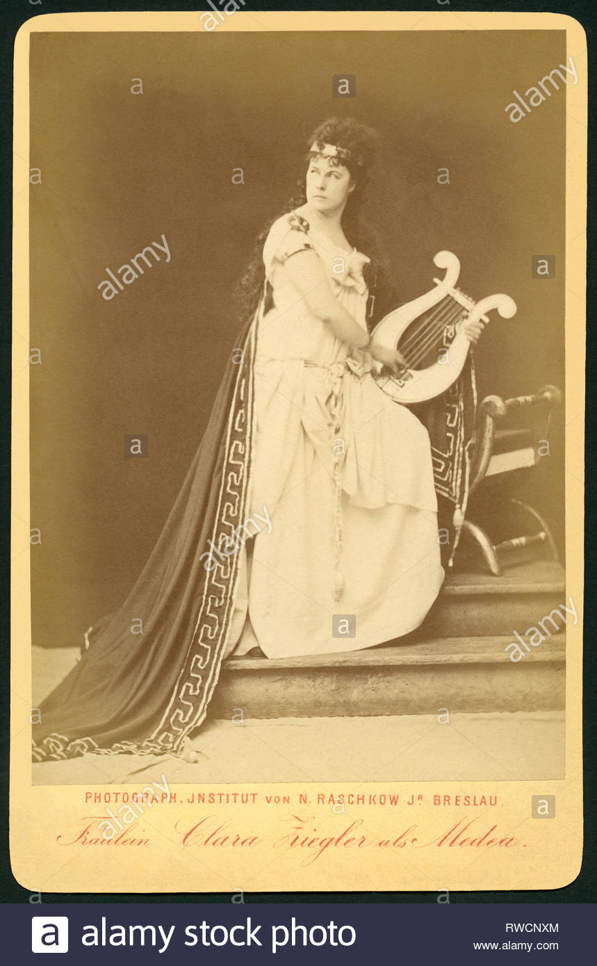 Germany, Bavaria, Munich, Clara Ziegler as Medea, published by the Photographic Institut N. Raschkow jr., Breslau (today Wroclaw), 1880th, 1890th., Artist's Copyright must also be cleared - Stock Image