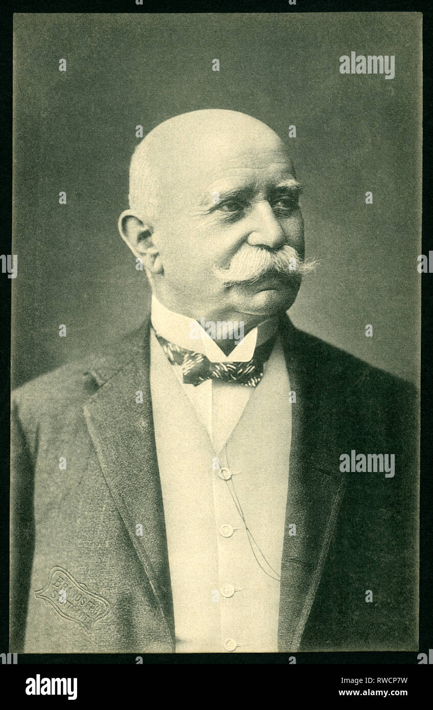 Ferdinand Count von Zeppelin, German disigner of airships, postcard, published by Branoseph, Stuttgart, 1910th?, Additional-Rights-Clearance-Info-Not-Available - Stock Image