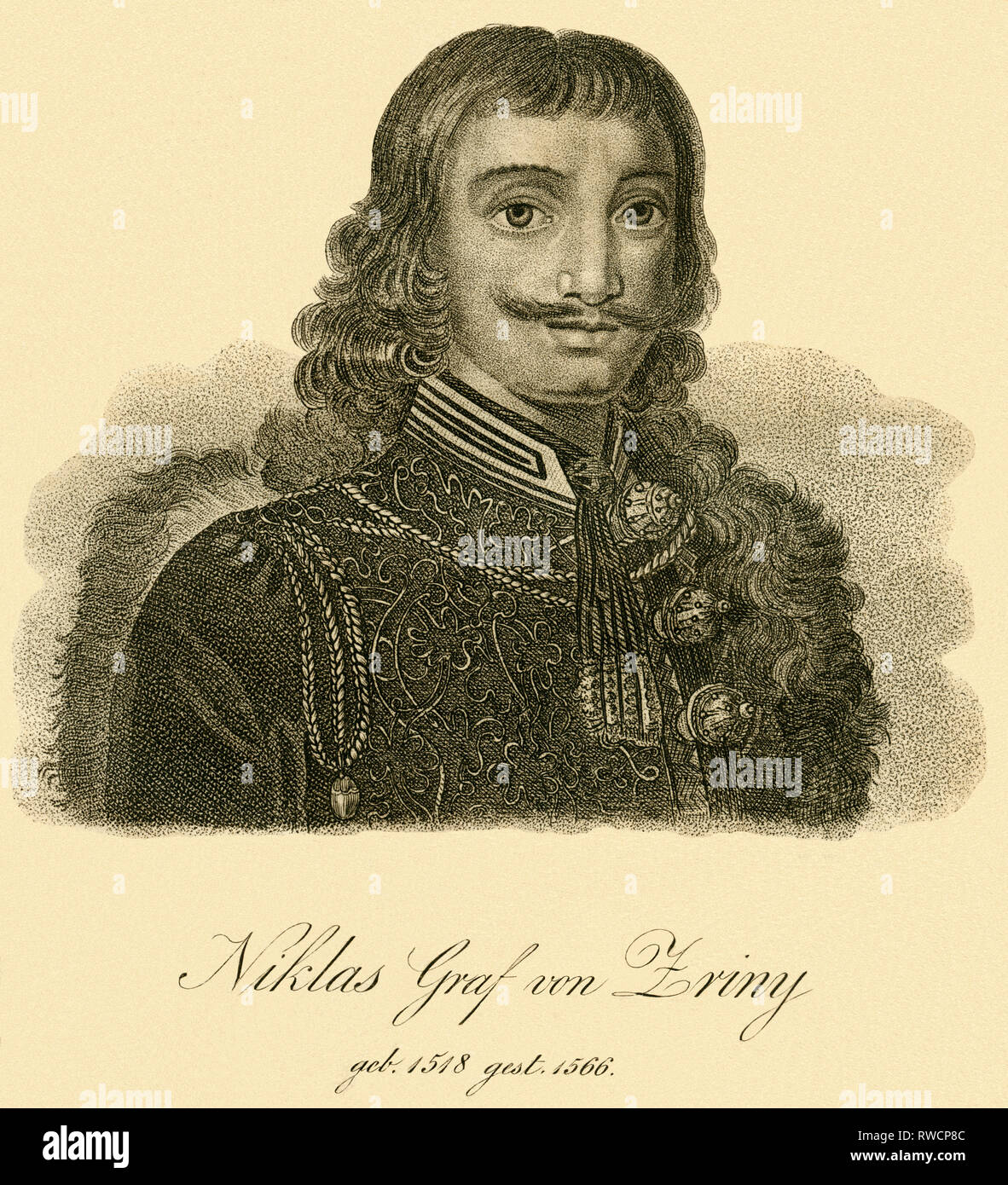 Niklas Count Zriny, Croatian nobility, strategist, copperplate engraving on handmade paper, around 1750., Artist's Copyright has not to be cleared - Stock Image