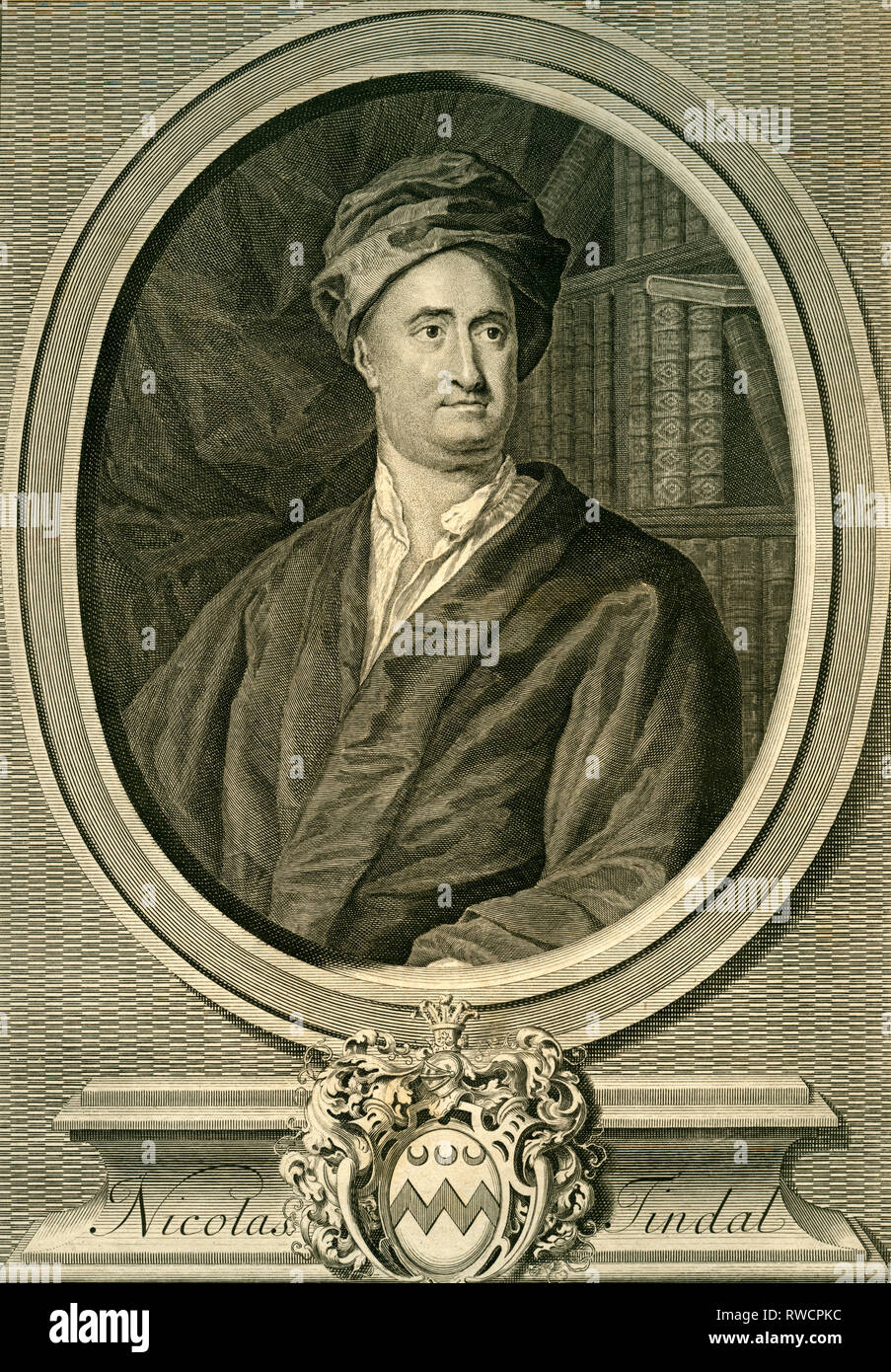 British translater and historian (history of England), copperplate engraving after Knapton, around 1735., Artist's Copyright has not to be cleared - Stock Image