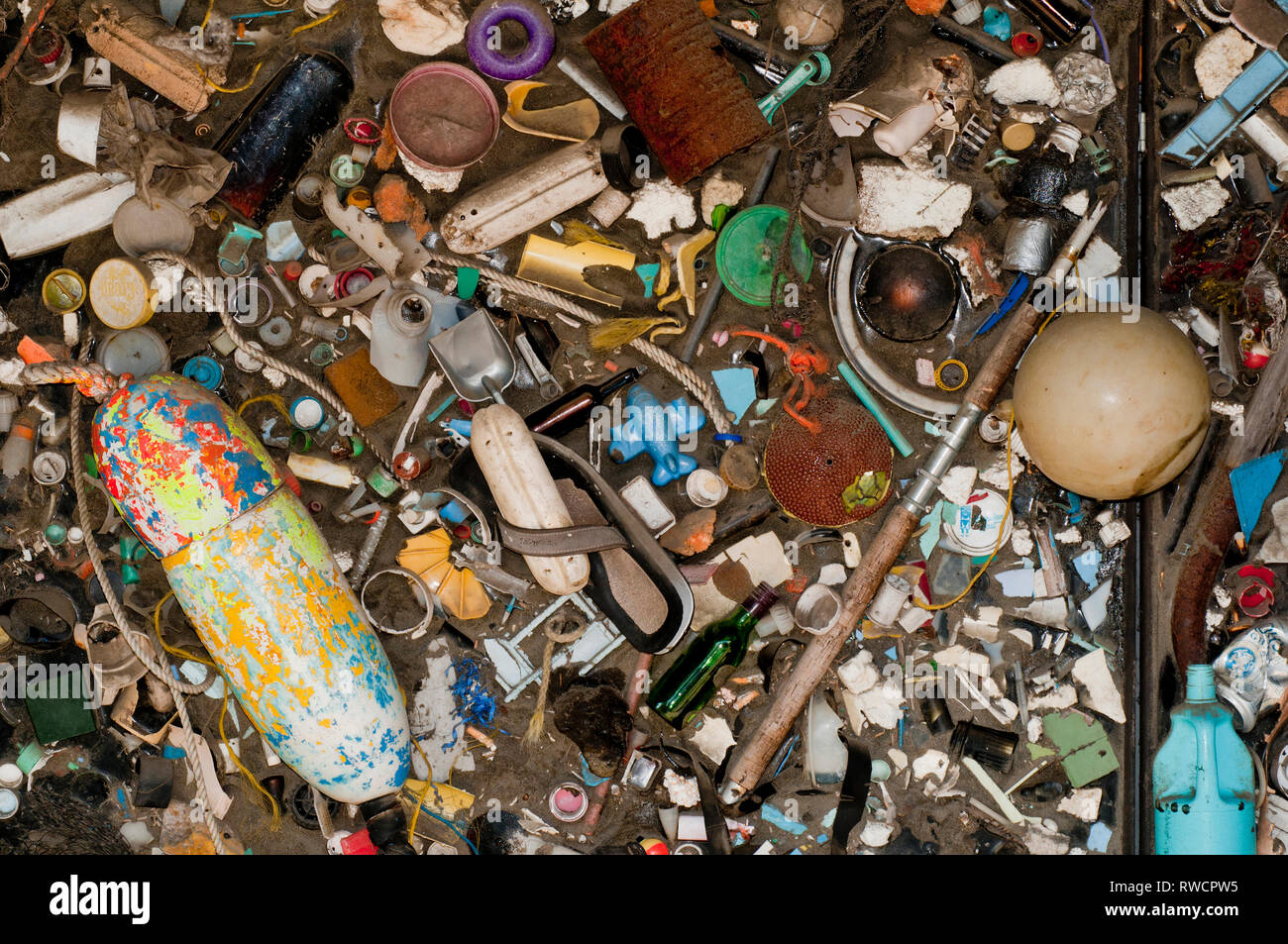 A collection of ocean trash collected near Newport, Oregon on display at the Oregon Coast Aquarium in Newport Oregon - Stock Image
