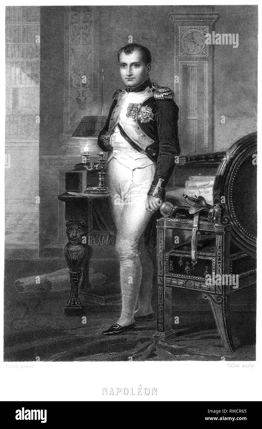 Napoleon Bonaparte, French statesman and Emperor, steel engraving around 1850th, Artist's Copyright has not to be cleared - Stock Image
