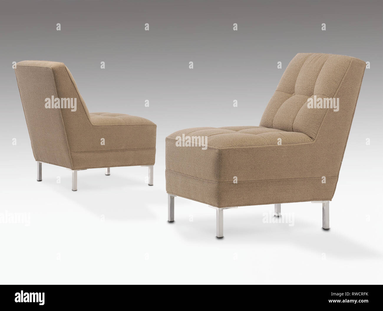Marvelous Mid Century Modern Armless Chairs With Chrome Legs Stock Dailytribune Chair Design For Home Dailytribuneorg