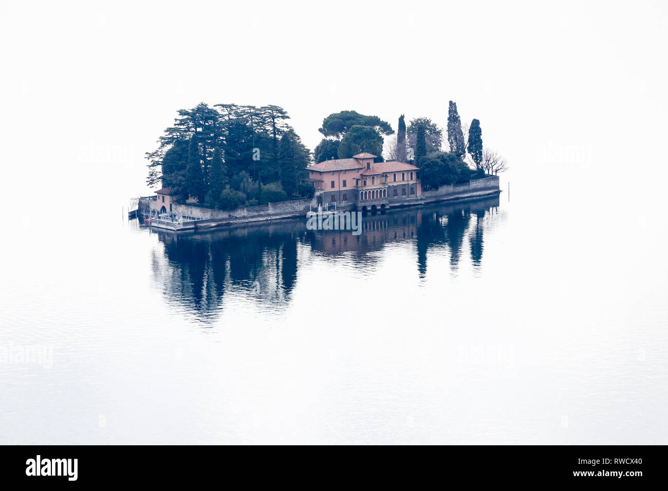Isola di San Paolo isle, Monte Isola, Iseo Lake, Lombardy, Italy - Stock Image