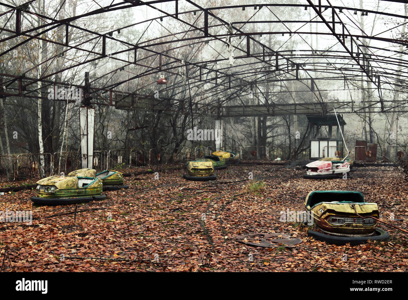 Bumper cars abandoned quickly during the Chernobyl nuclear evacuation - Stock Image