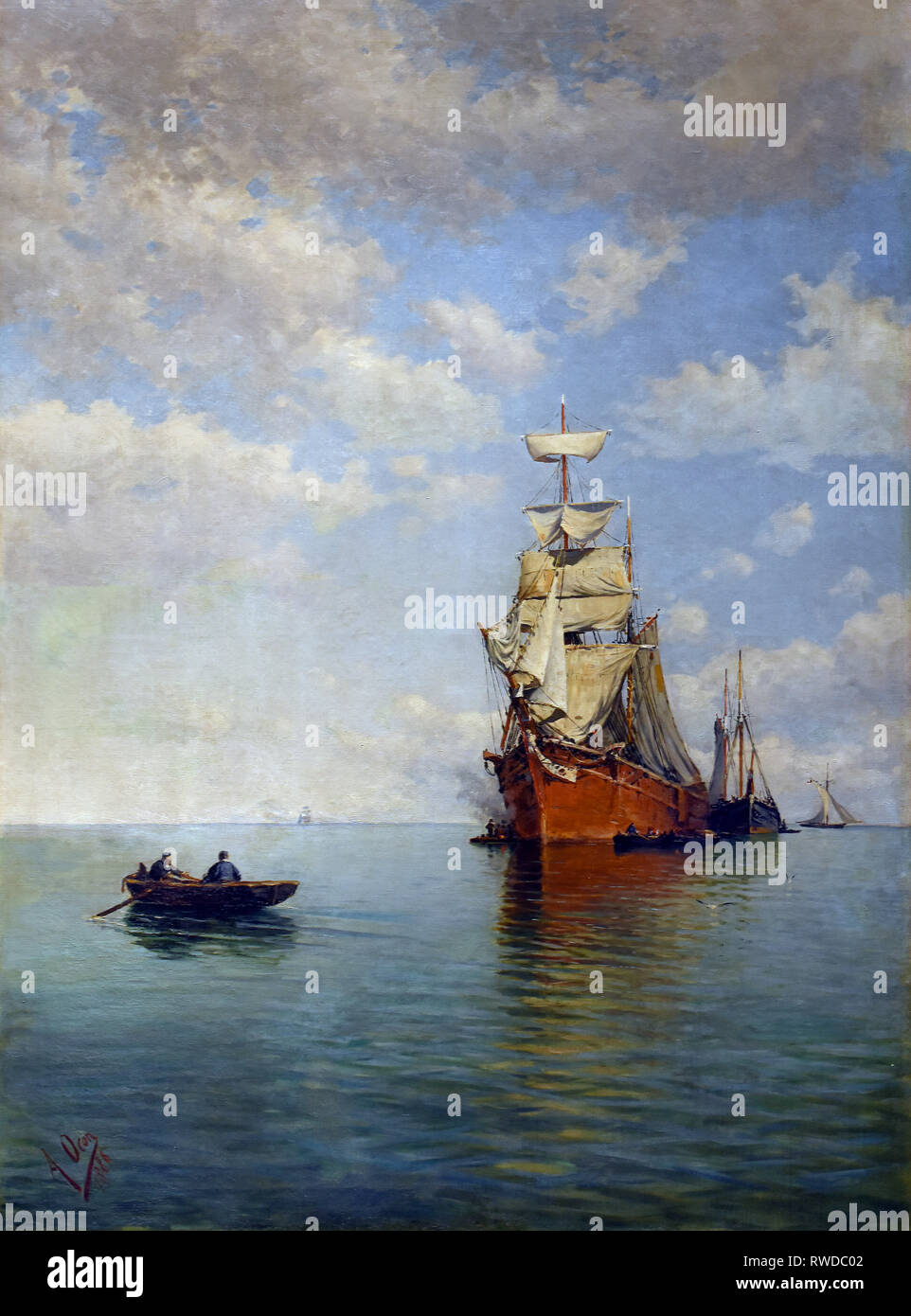Seascape - High seas 1886 by Adolfo Ocon y Toribio 1860-1939 Spain,Spanish - Stock Image