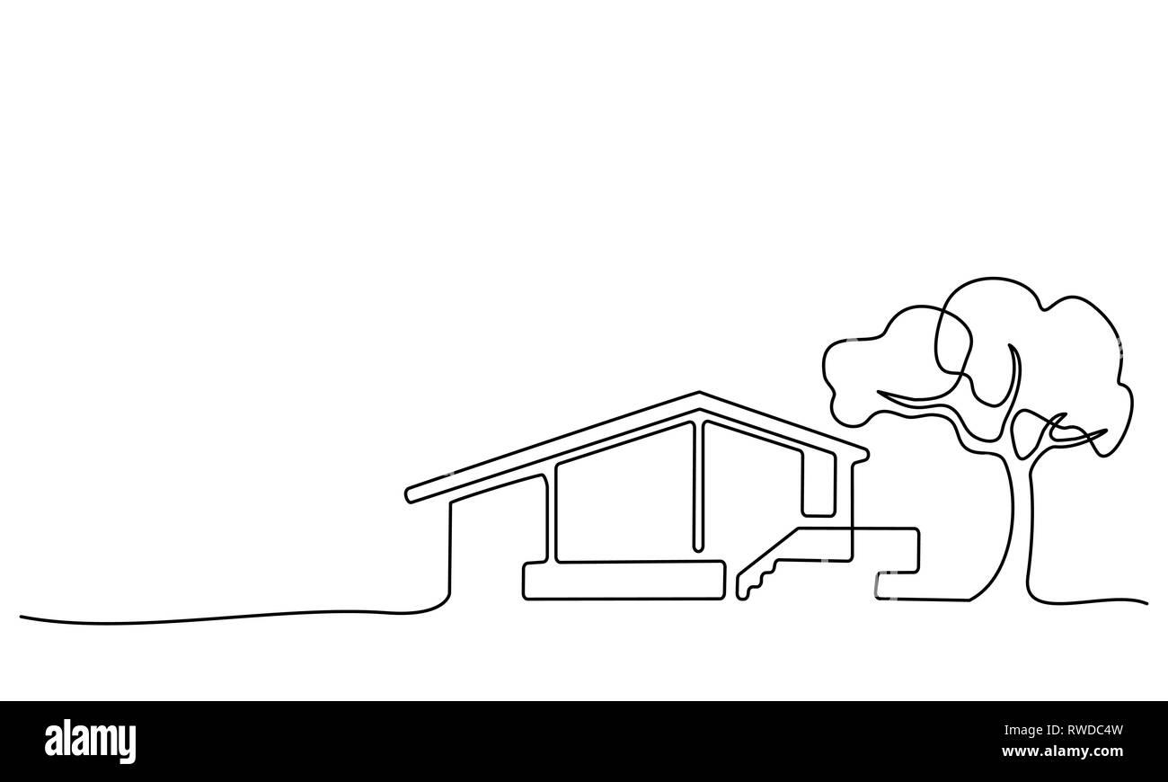 Continuous One Line Drawing Modern House With Tree