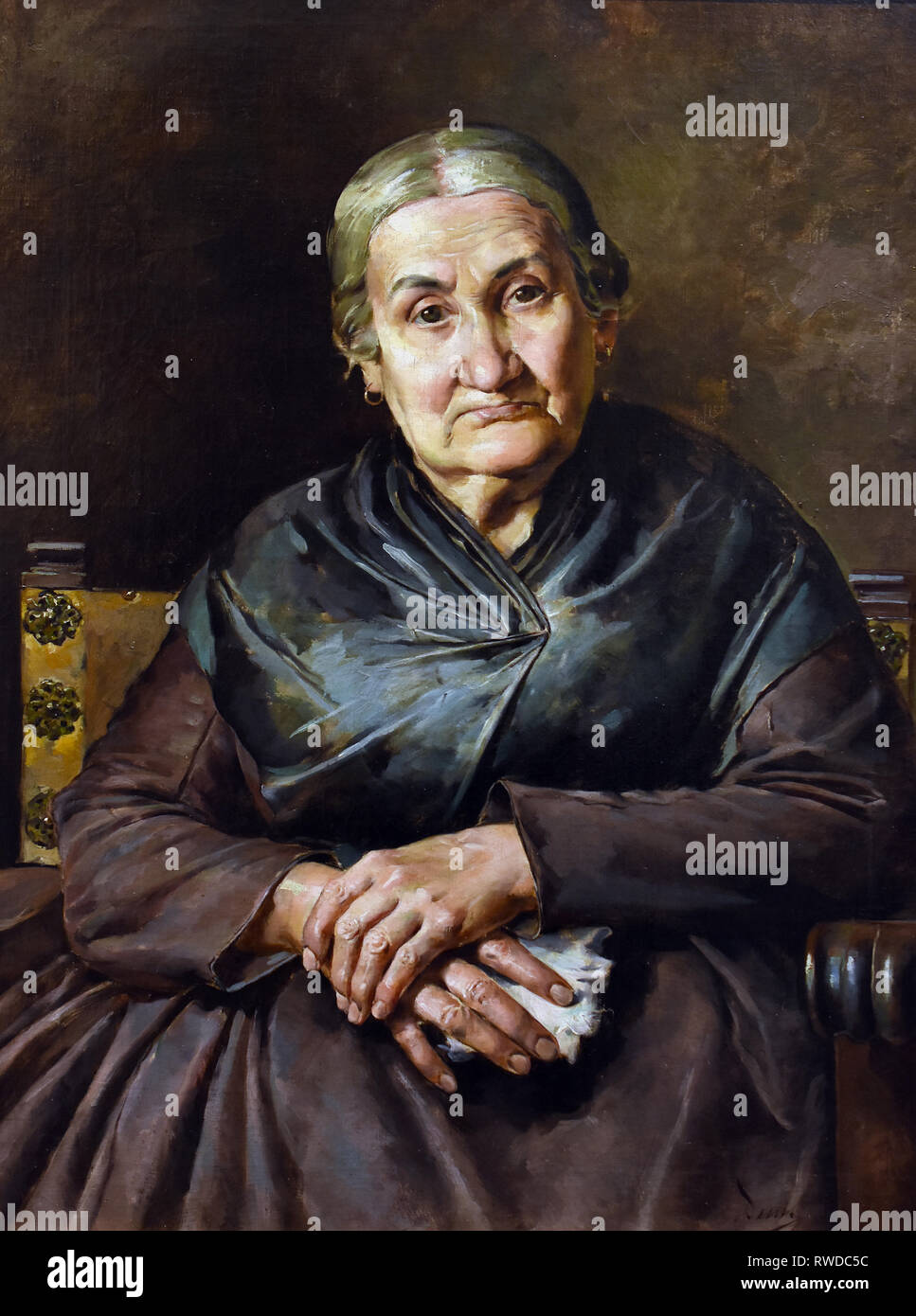 Portrait of the Artist`s Mother 1891 by Jose Denis Belgrano 1844-1917 Spain, Spanish. - Stock Image