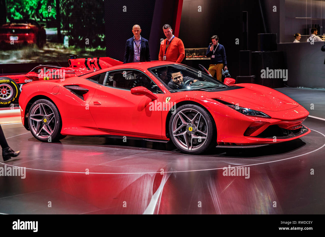Ferrari F8 Tributo was presented during the 2019 Geneva International Motor Show on Tuesday, March 5th, 2019. (CTK Photo/Josef Horazny) - Stock Image