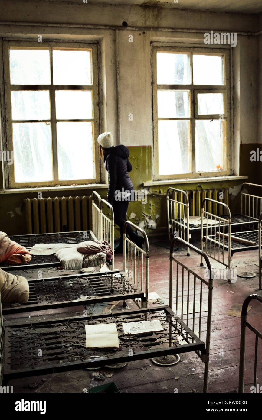 Beds left in the exact same spot as they were during the 1986 Chernobyl disaster - Stock Image