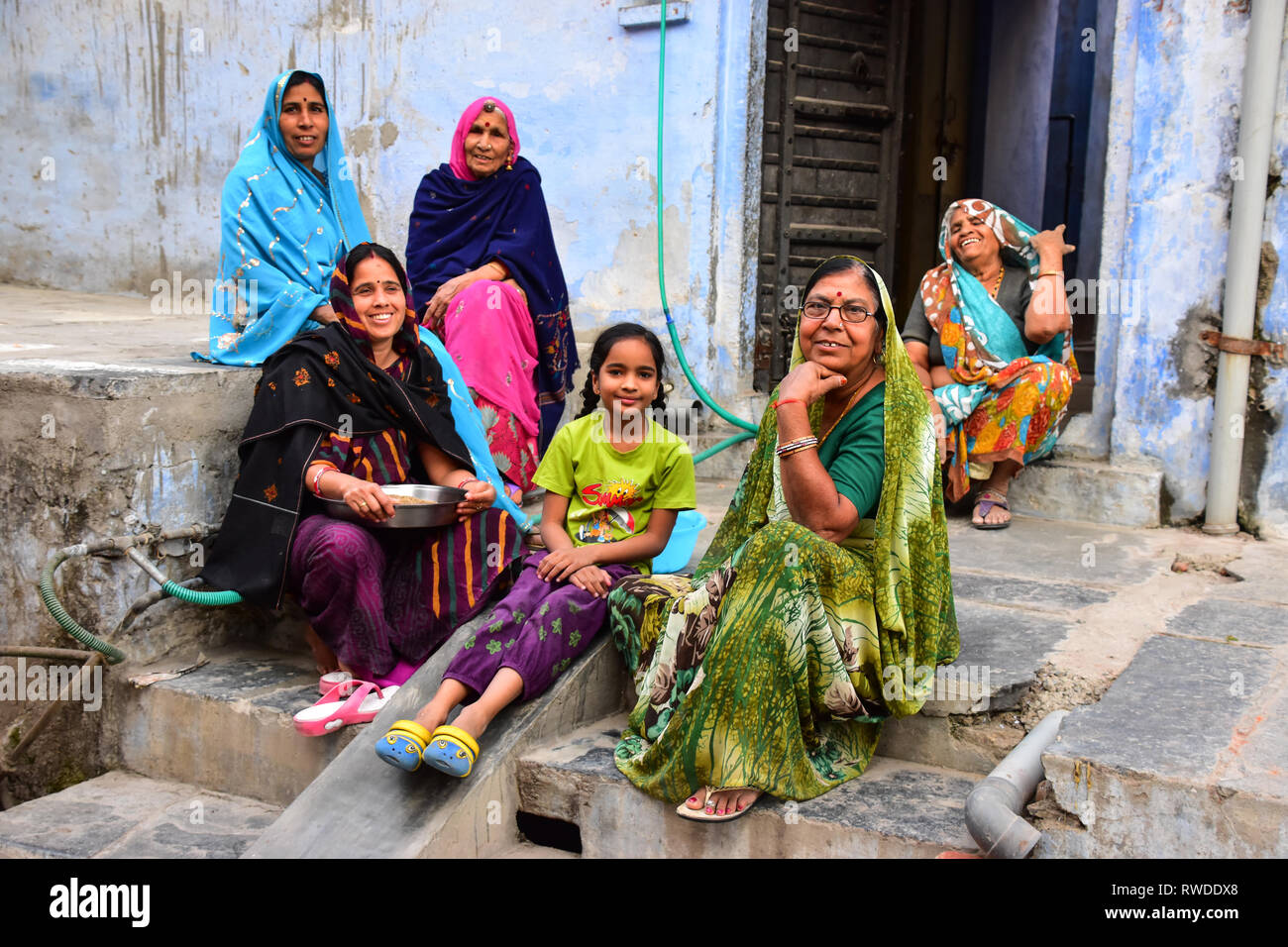 fad23a0cc3 Indian ladies sitting in traditional dress, Chittorgarh, Rajasthan, India -  Stock Image