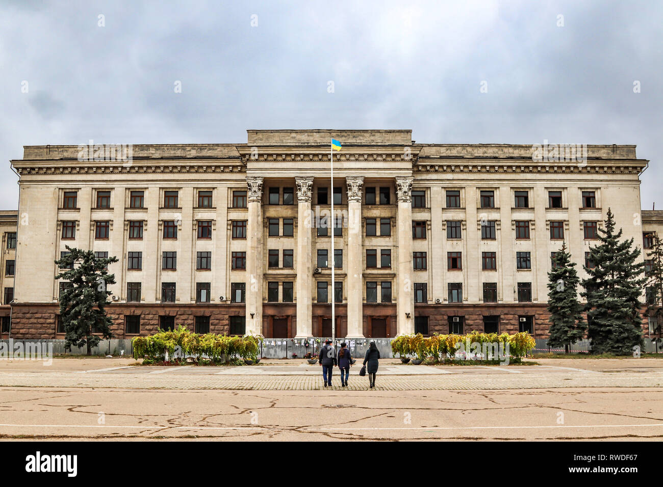 Trade Unions Building in Odessa, a scene of devastation during the 2014 clashes. - Stock Image