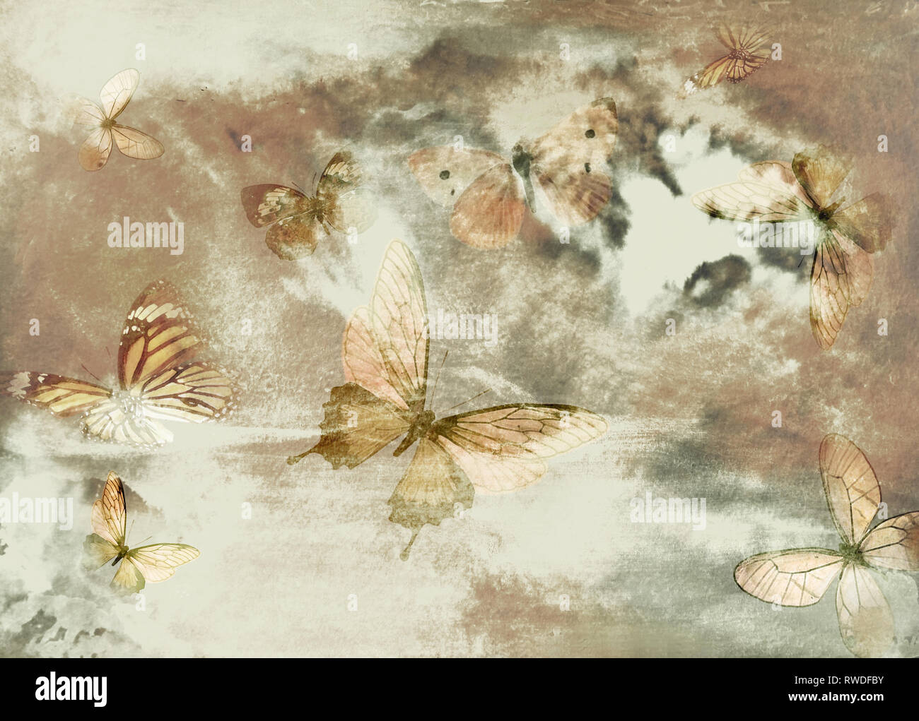 Watercolor vintage background with butterflies in sepia tones. - Stock Image