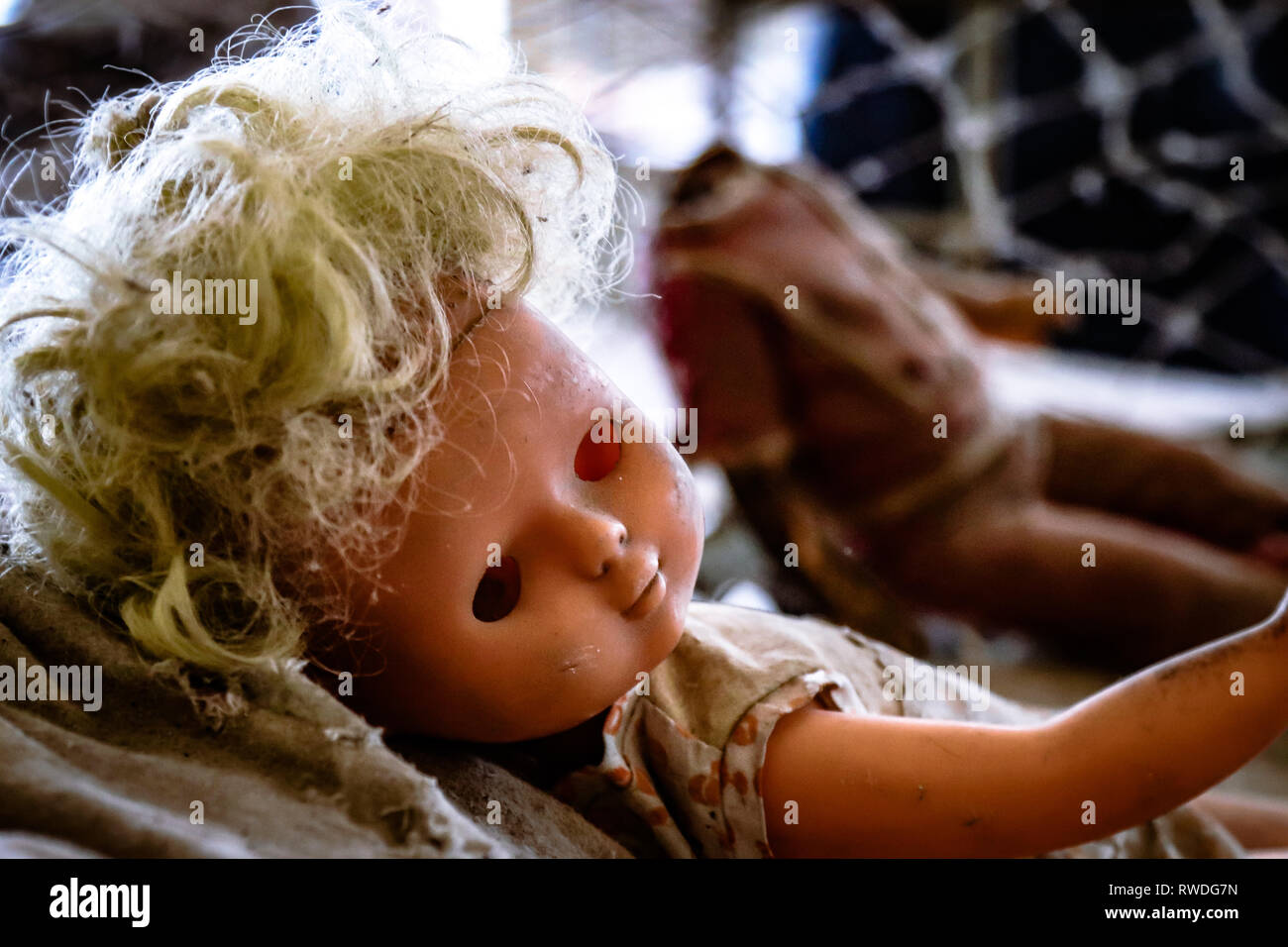 A creepy doll left on the site of the abandoned kindergarten inside Chernobyl's exclusion zone - Stock Image