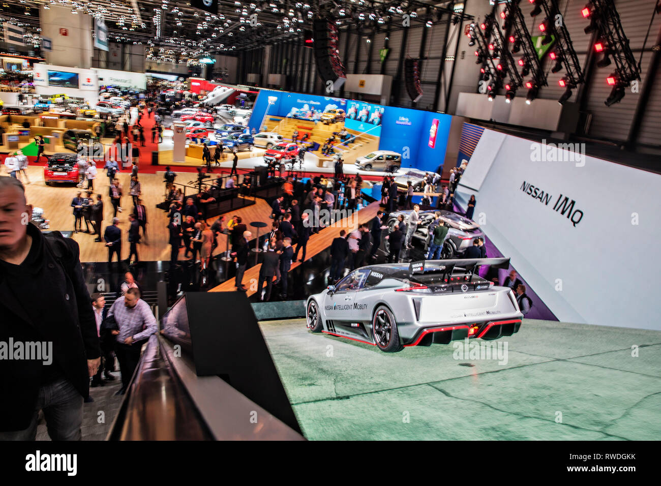 Overall view of the 2019 Geneva International Motor Show on Tuesday, March 5th, 2019. (CTK Photo/Rene Fluger) - Stock Image