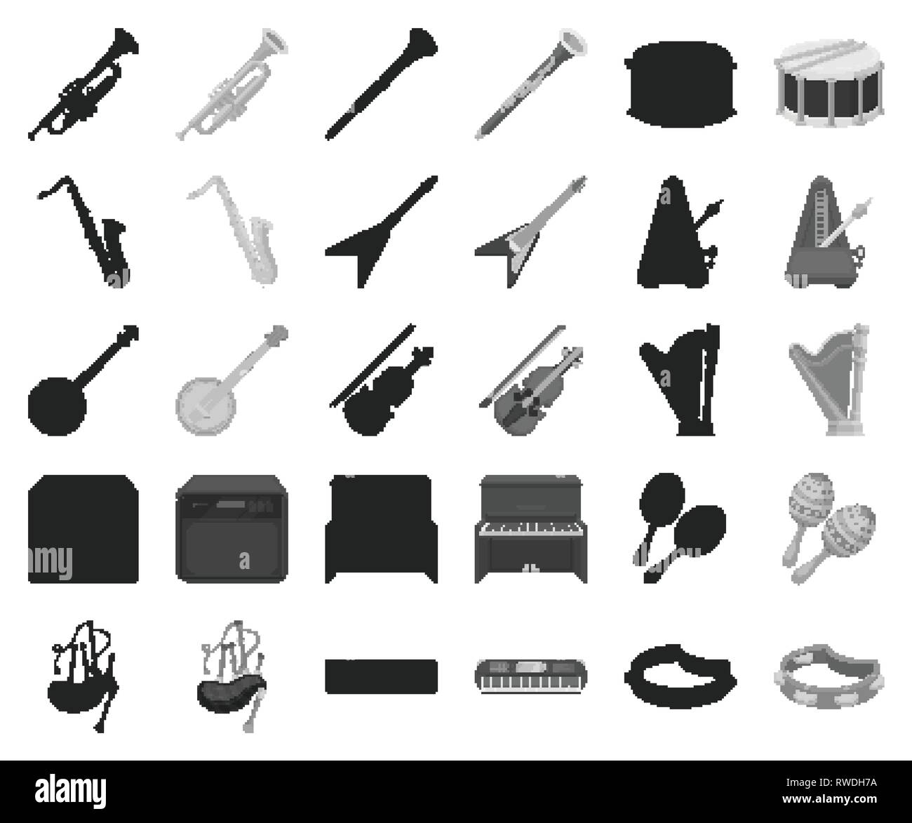 Musical instrument black,monochrome icons in set collection for design. String and Wind instrument vector symbol stock  illustration. - Stock Image
