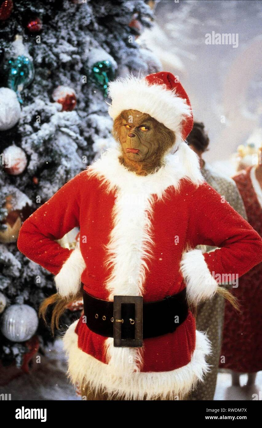 The Grinch Christmas.Jim Carrey How The Grinch Stole Christmas 2000 Stock Photo