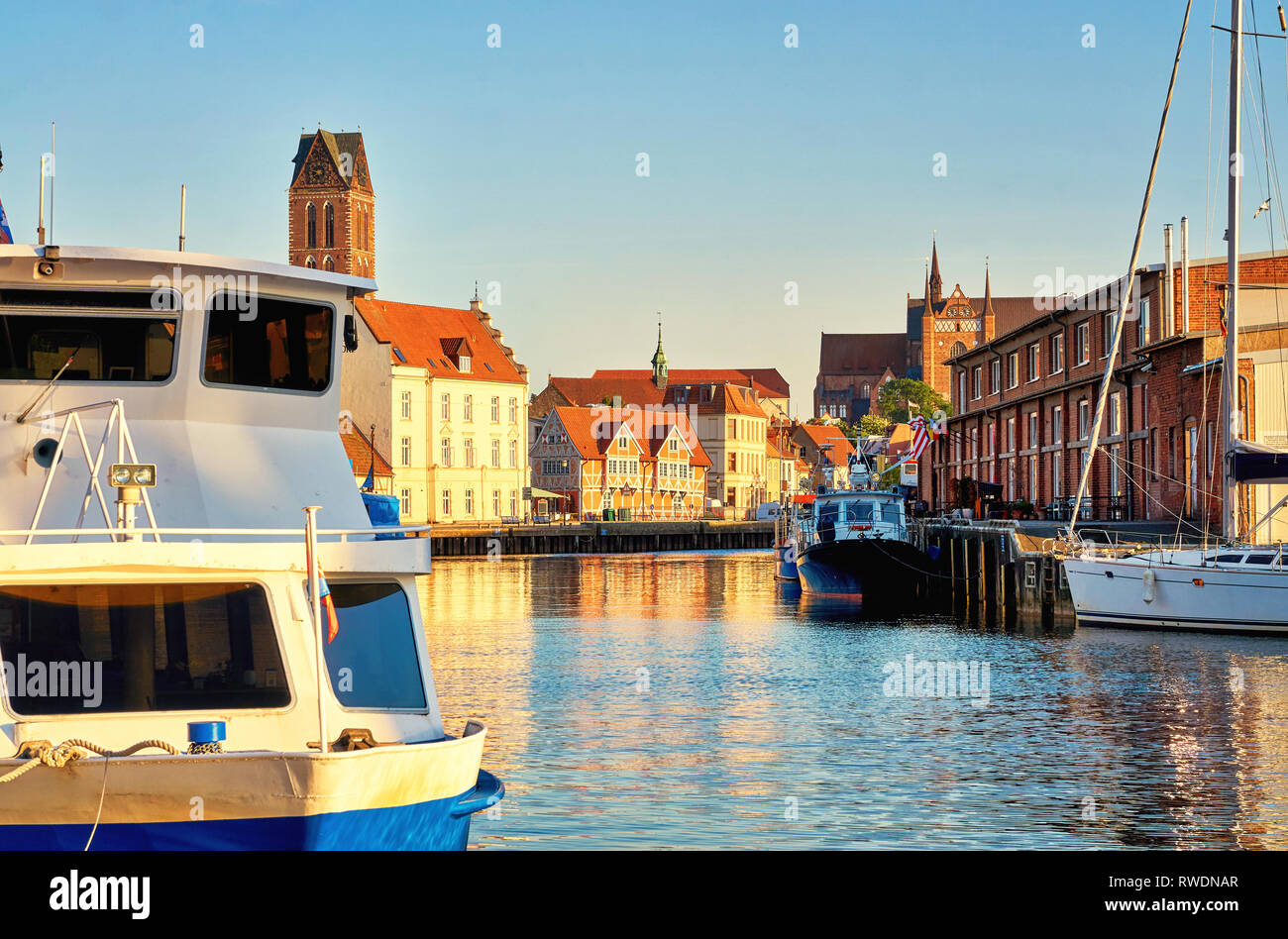 Port of Wismar overlooking the old town. Baltic Sea in Mecklenburg Vorpommern. Germany - Stock Image