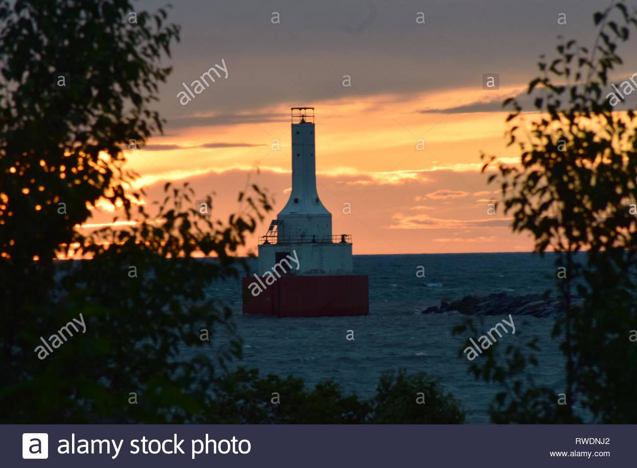 Portage Lake Upper Entry Lighthouse - Stock Image