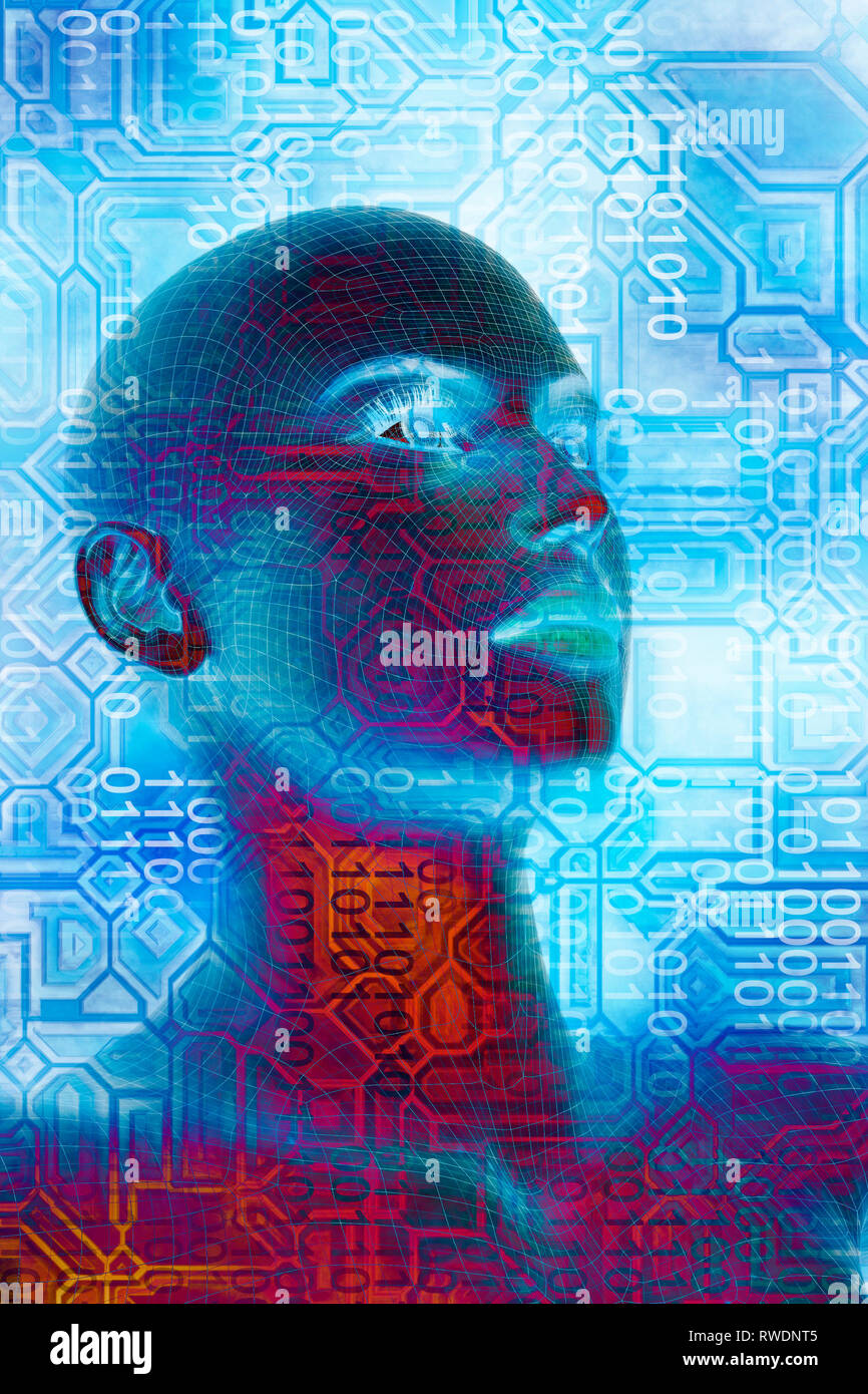female humanoid and binary digits, concept for AI and technological singularity - Stock Image