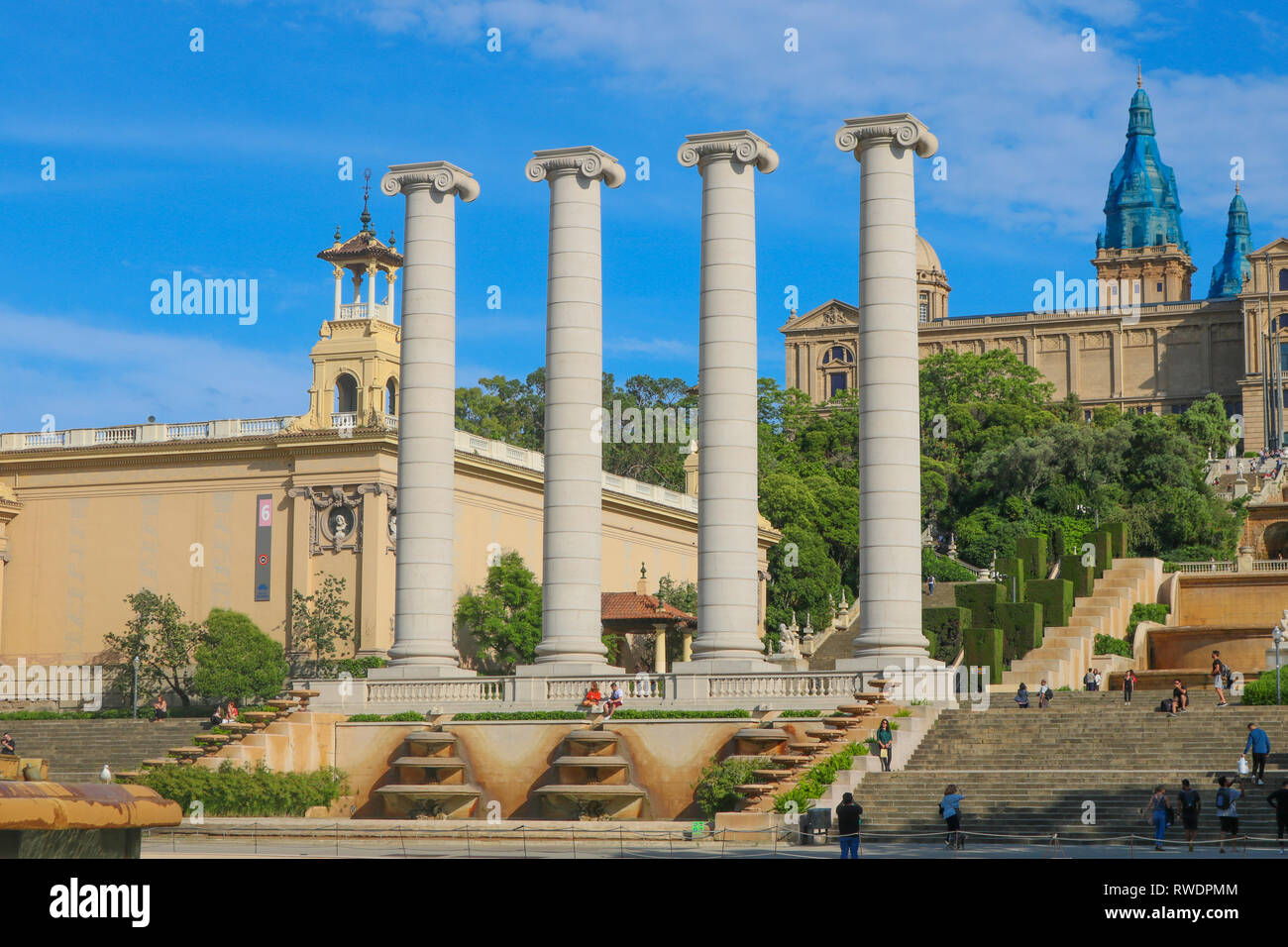 The Four Columns are four Ionic columns originally created by Josep Puig i Cadafalch in Barcelona, Spain. They were erected in 1919, where the Magic F - Stock Image