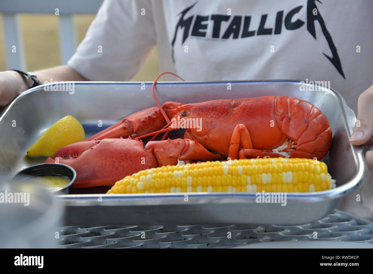 Super delicious looking lobster with corn in a metal pan, colorful, yummy - Stock Image