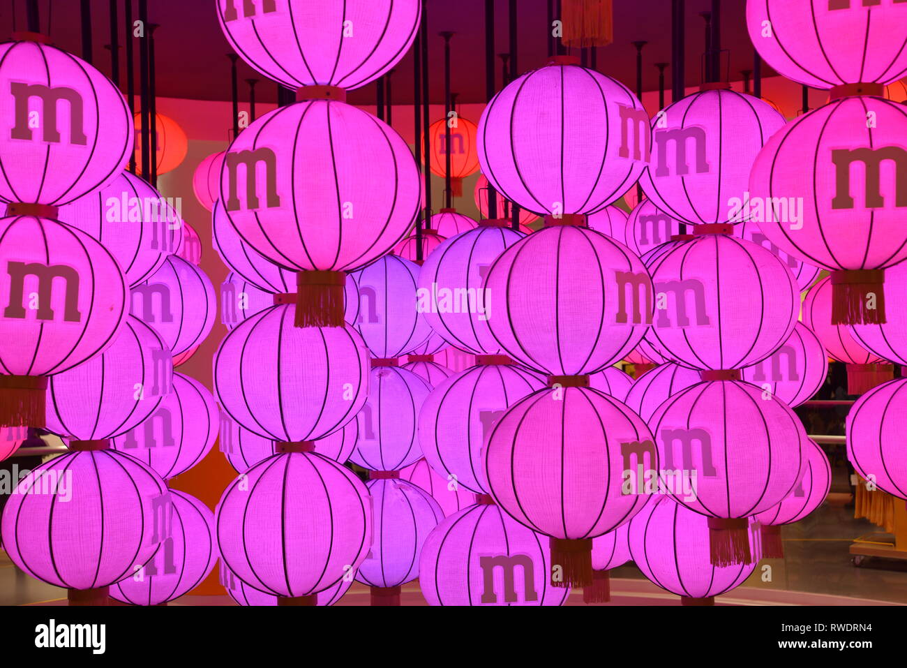 Chinese traditional lantern in M&M'S store in Shanghai, China - Stock Image