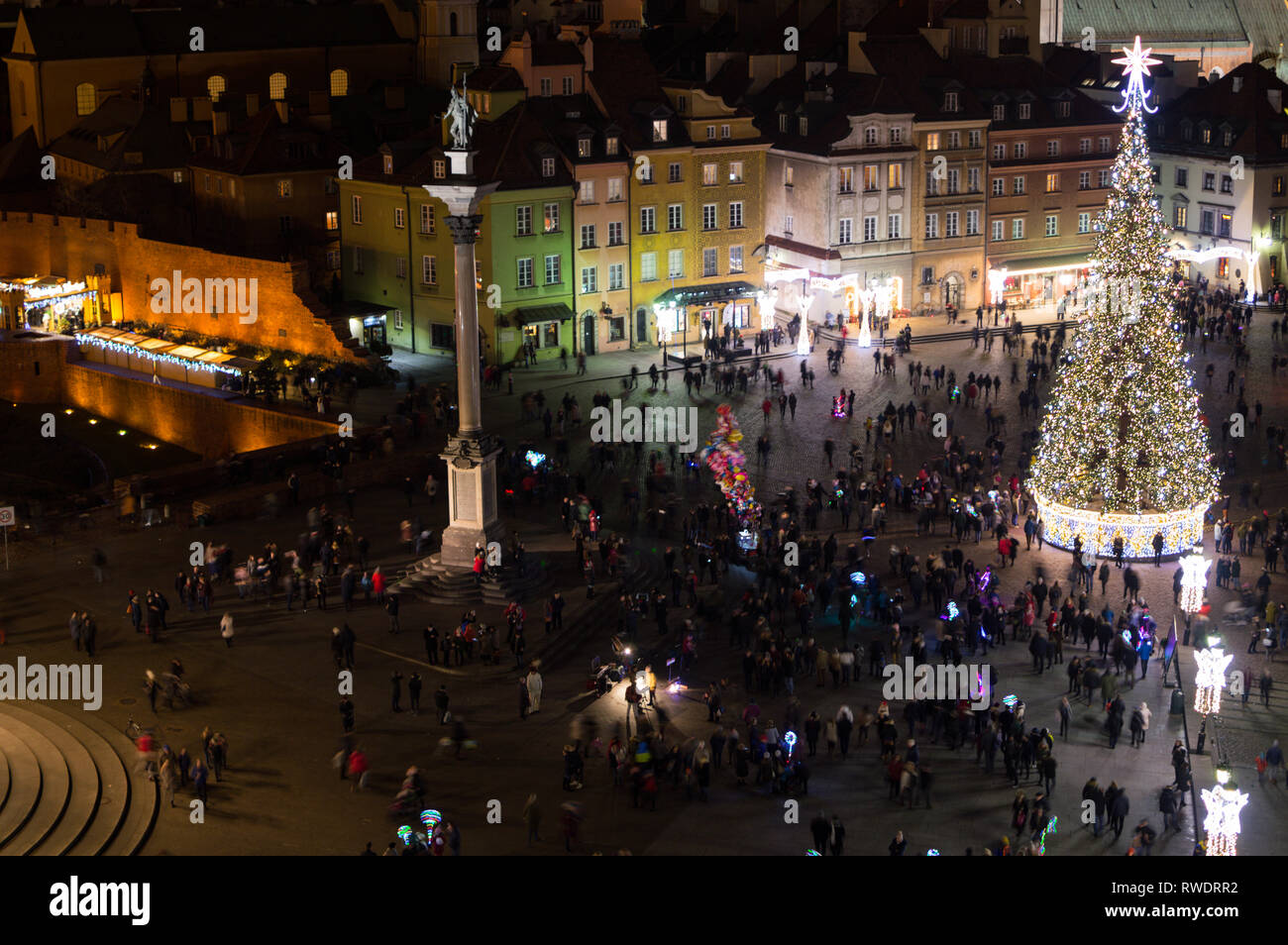 Christmas Crowd in Warsaw, Poland as Seen from Taras Widokowy Tower at Night - Stock Image