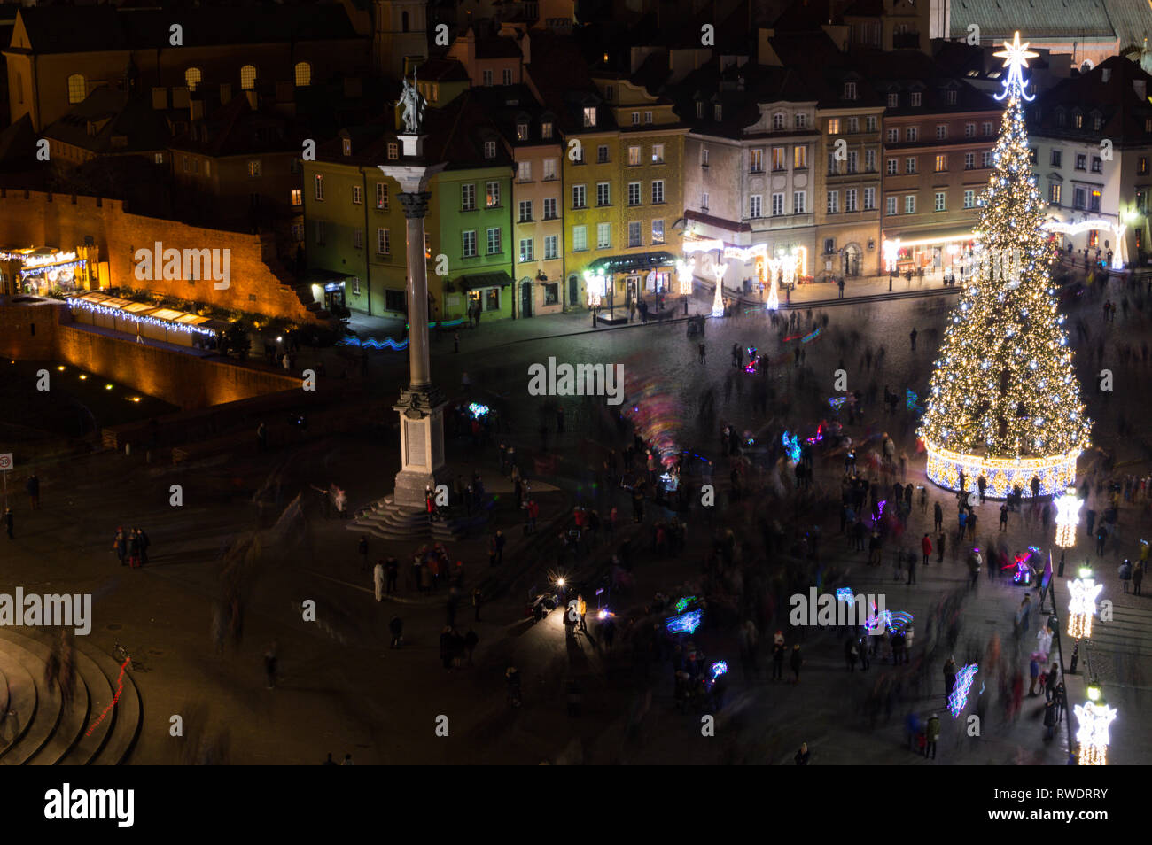 Christmas in Warsaw, Poland as Seen from Taras Widokowy Tower at Night - Stock Image