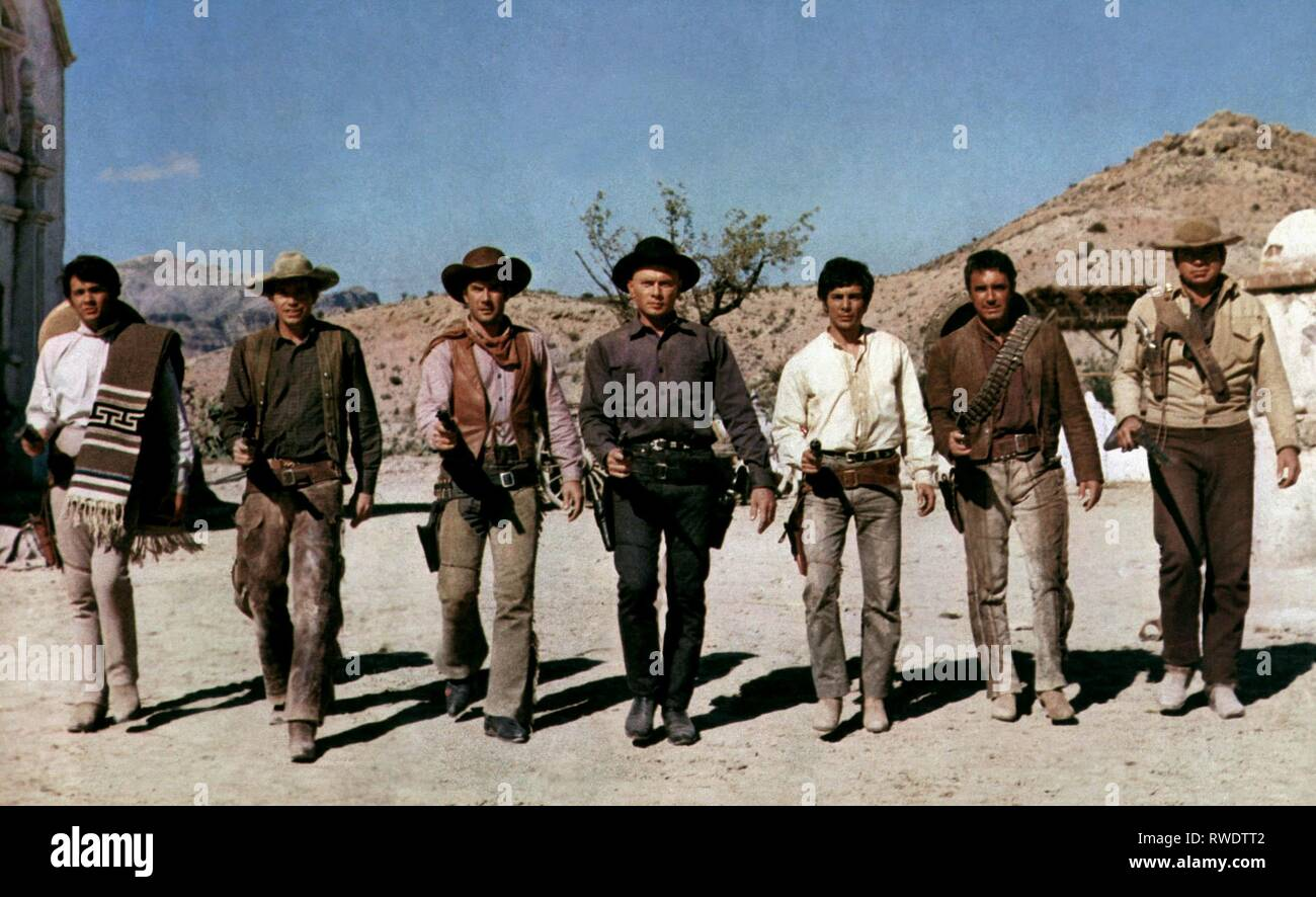 CHRISTOPHER,OATES,FULLER,BRYNNER,MATEOS,TEXEIRA,ATKINS, RETURN OF THE MAGNIFICENT 7, 1966 - Stock Image