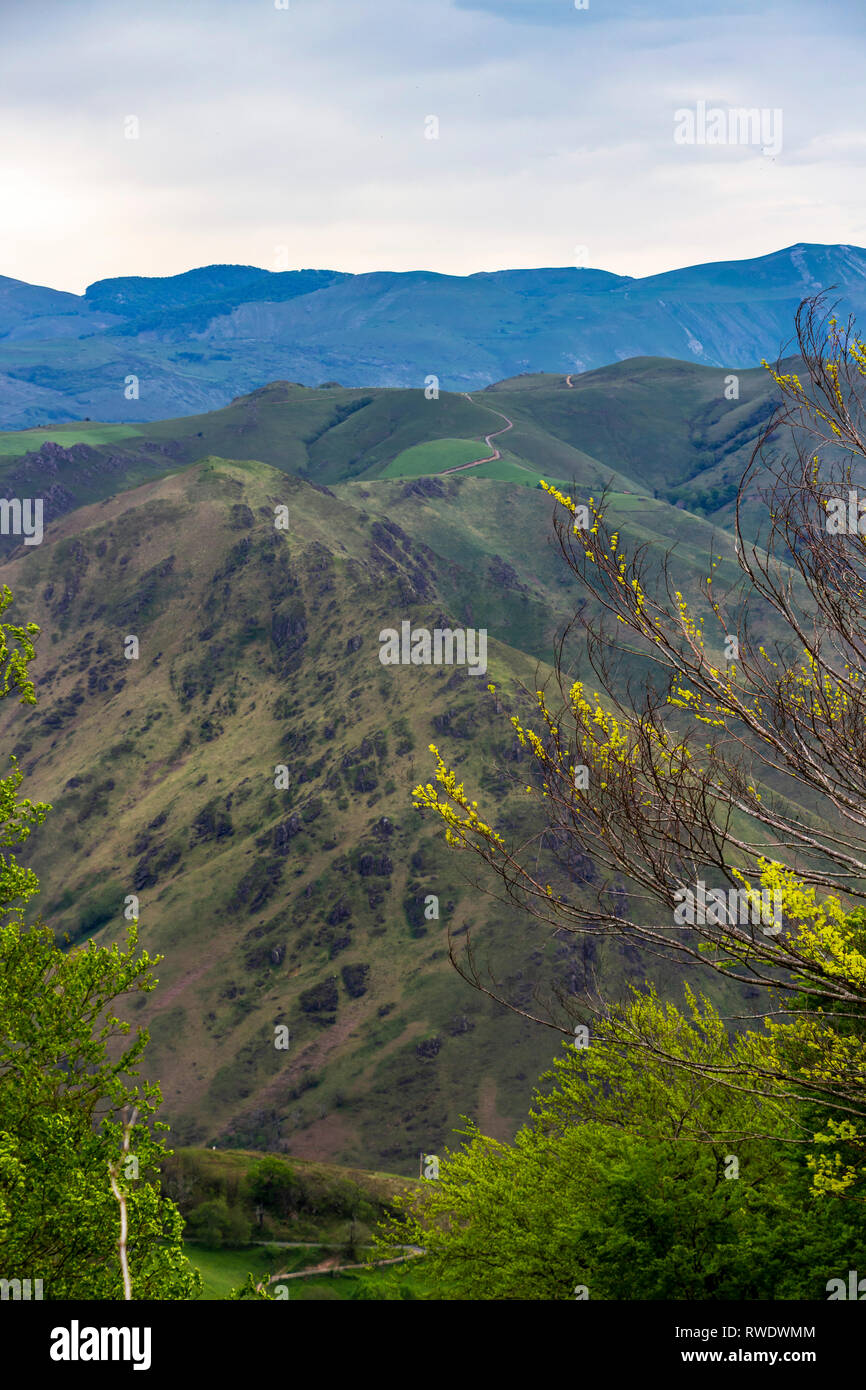 Scenic French Napoleon Route Pyrenees Mountains overcast ridge view in May, Pyrenees Mountains France, Camino de Santiago - Stock Image