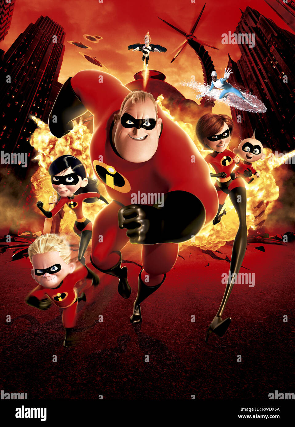 DASH,PARR,INCREDIBLE,SYNDROME,ELASTIGIRL,FROZONE,JACK, THE INCREDIBLES, 2004 - Stock Image