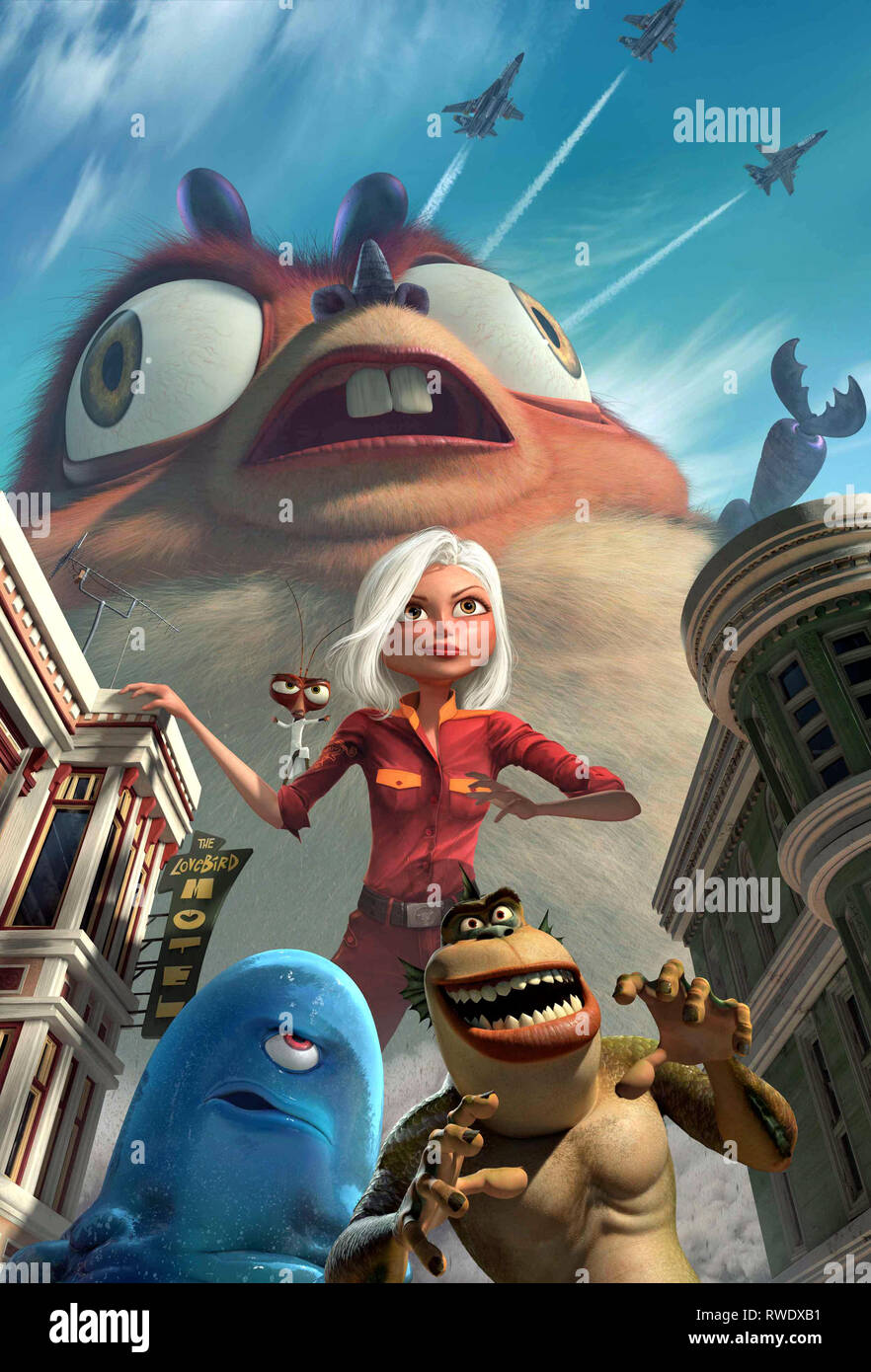 INSECTOSAURUS,COCKROACH,GINORMICA,LINK,B.O.B., MONSTERS VS. ALIENS, 2009 - Stock Image