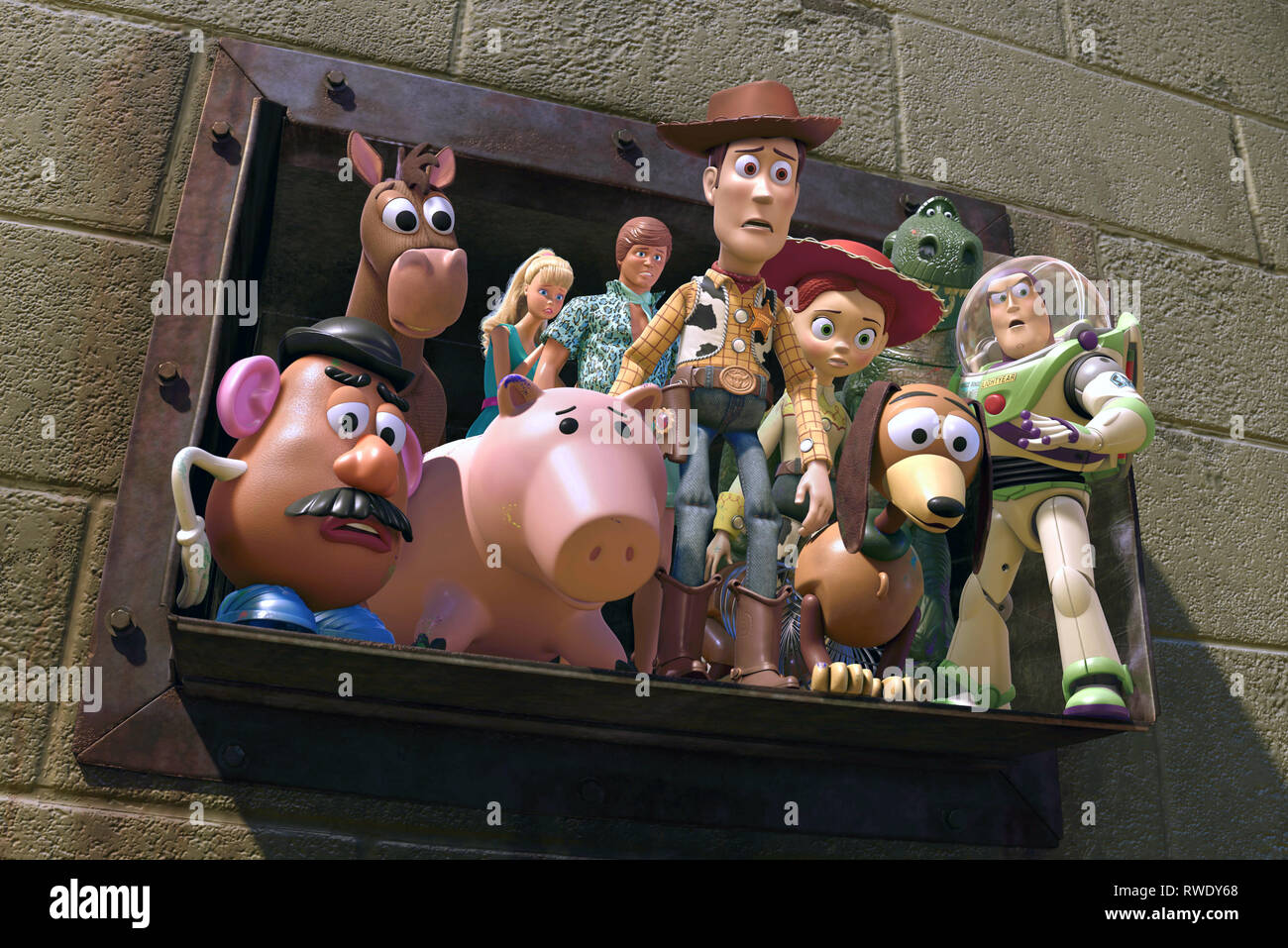 MR. POTATO HEAD, BULLSEYE, HAMM, BARBIE, KEN, WOODY, JESSIE, SLINKY, REX,BUZZ LIGHTYEAR, TOY STORY 3, 2010 - Stock Image
