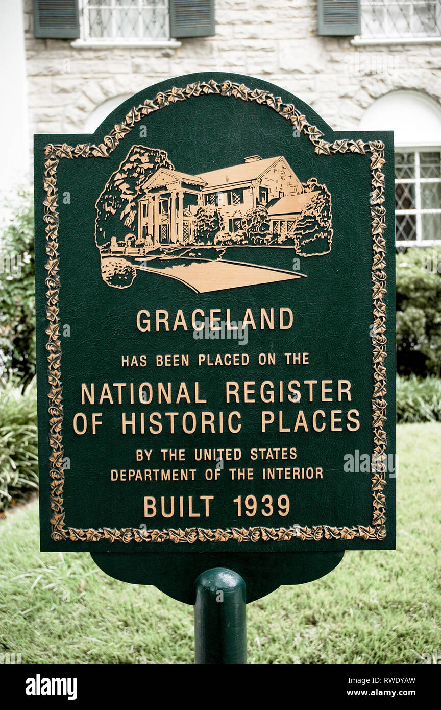 MEMPHIS, TN, USA: OCTOBER 11, 2006: A sign stands in front of Elvis Presley's Graceland, designating the home as a historic place. Stock Photo