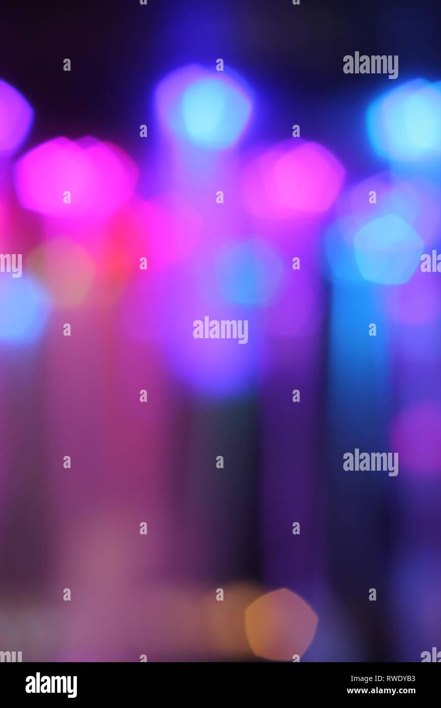 bokeh of night lights in beautiful cool colors - Stock Image