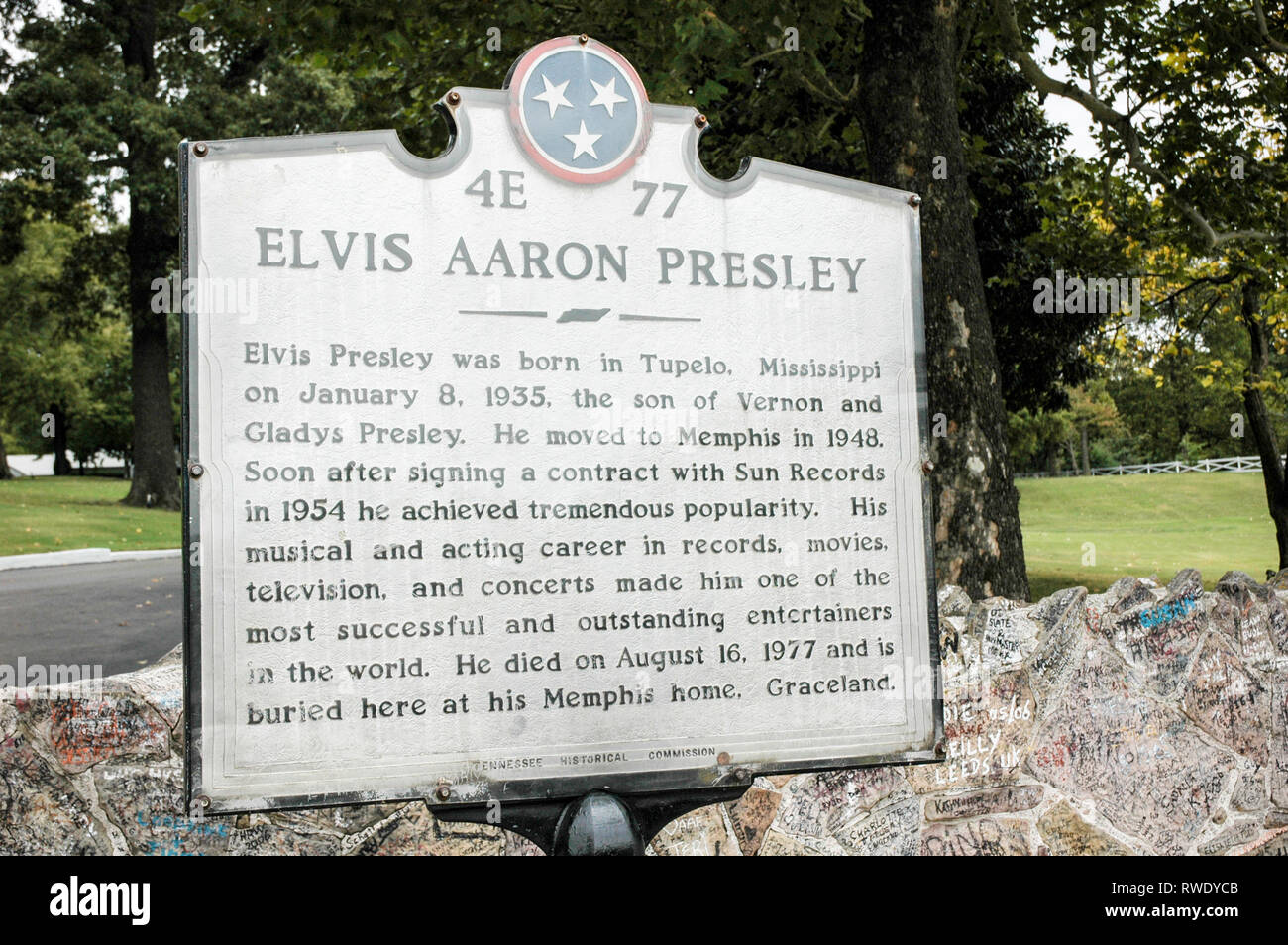 MEMPHIS, TN, USA: OCTOBER 11, 2006: A sign in front of Elvis Presley's Graceland shows the impact the late singer had on Memphis. Stock Photo
