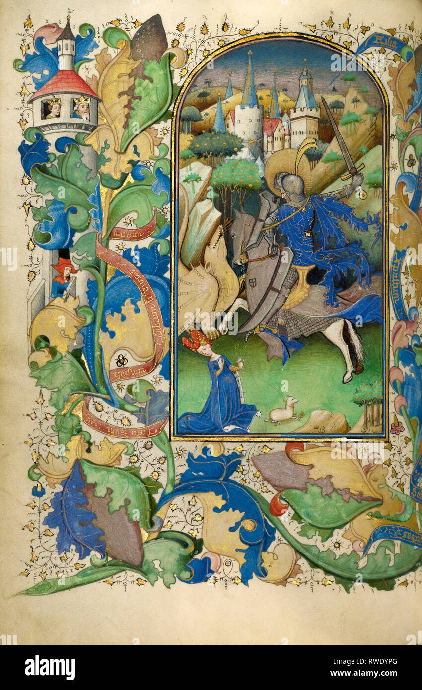 Saint George and the Dragon; Master of Guillebert de Mets (Flemish, active about 1410 - 1450); Ghent (probably), Belgium; about 1450–1455; Tempera col - Stock Image