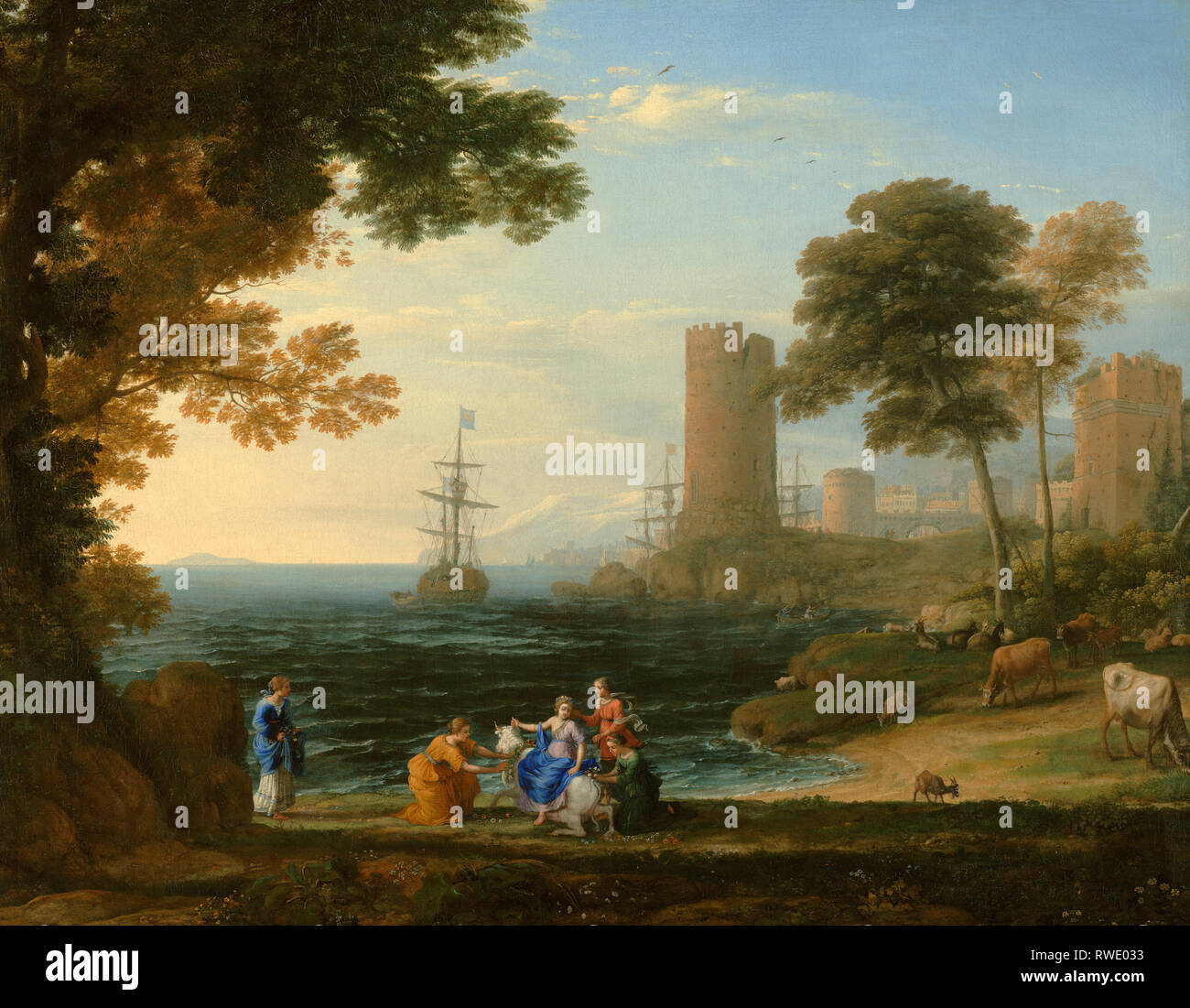 Coast View with the Abduction of Europa; Claude Lorrain (Claude Gellée) (French, 1604 or 1605 ? - 1682); Rome, Italy; 1645 ?; Oil on canvas; Digital i - Stock Image