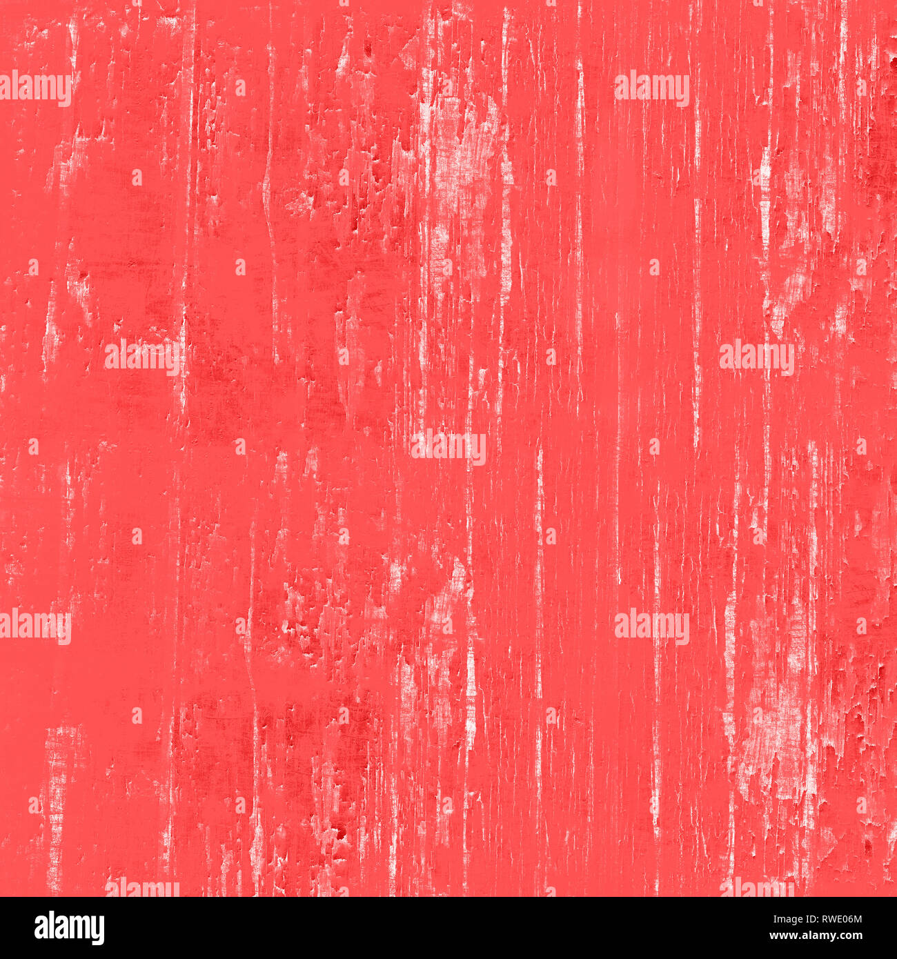 Living coral high resolution colored background with white, orange and pink paint splatters grunge texture. - Stock Image