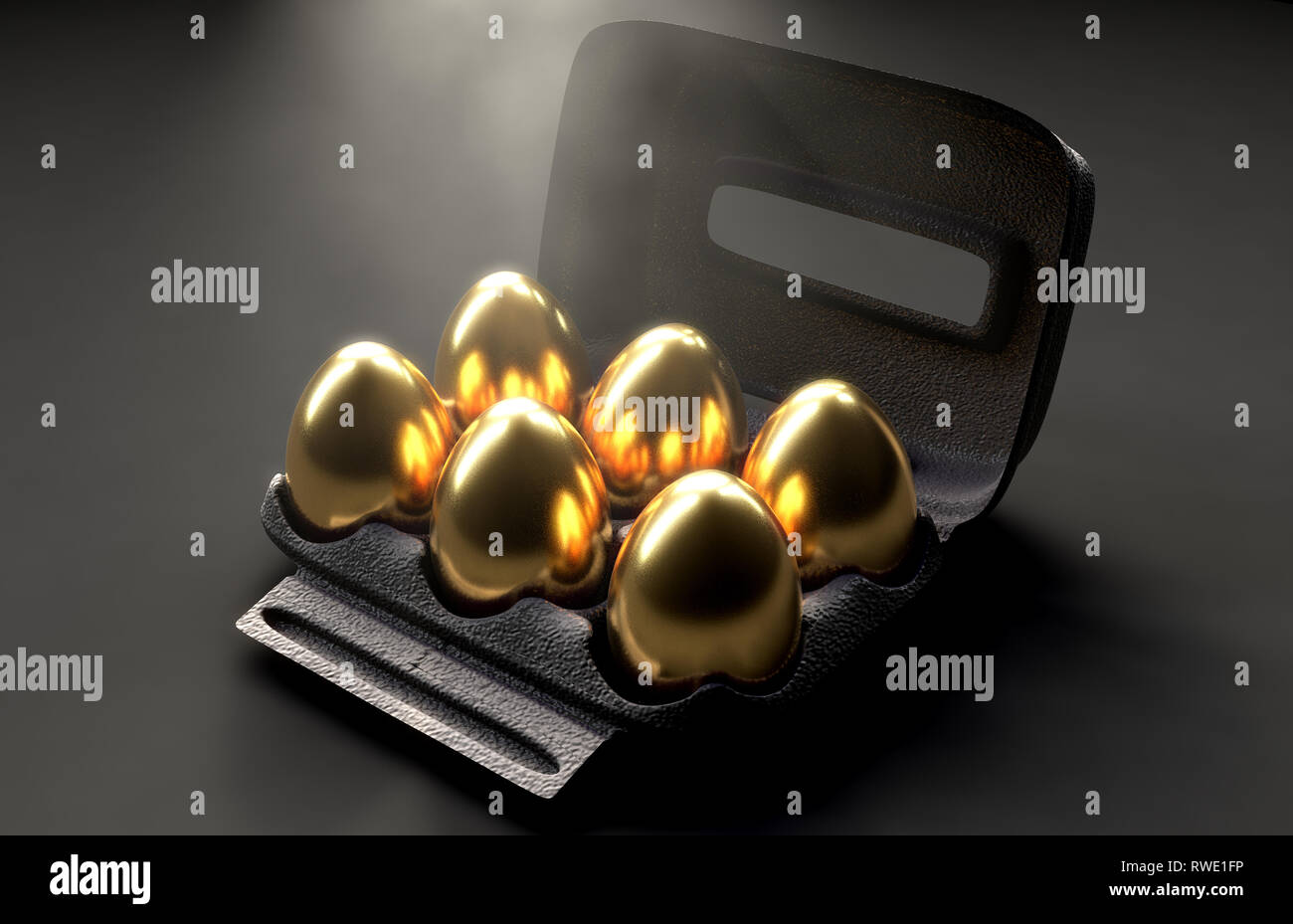 A collection of six golden eggs in a regular cardboard egg