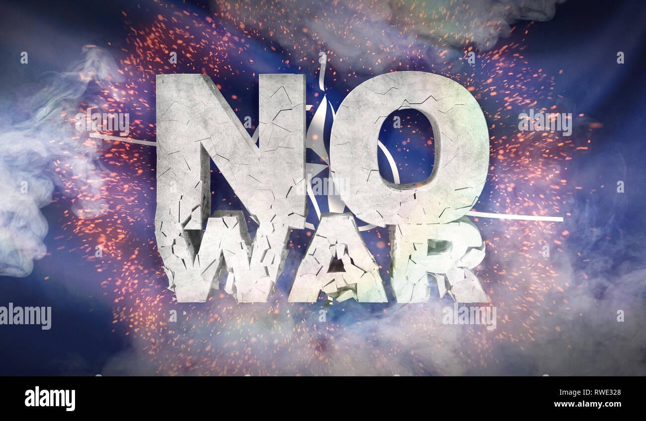 No war concept. The flag of the North Atlantic Treaty Organization NATO. 3D illustration. Stock Photo